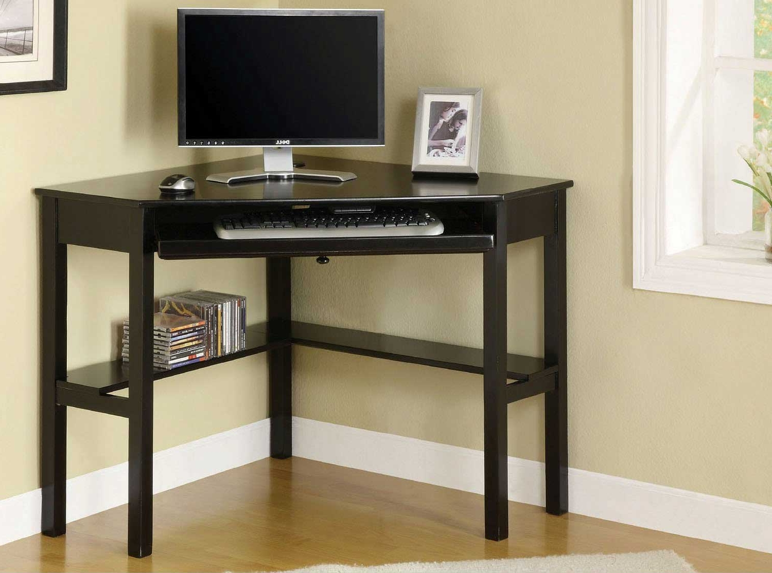 Glass Corner Computer Desk In Black – Amys Office Regarding Most Up To Date Corner Computer Desks (View 11 of 20)