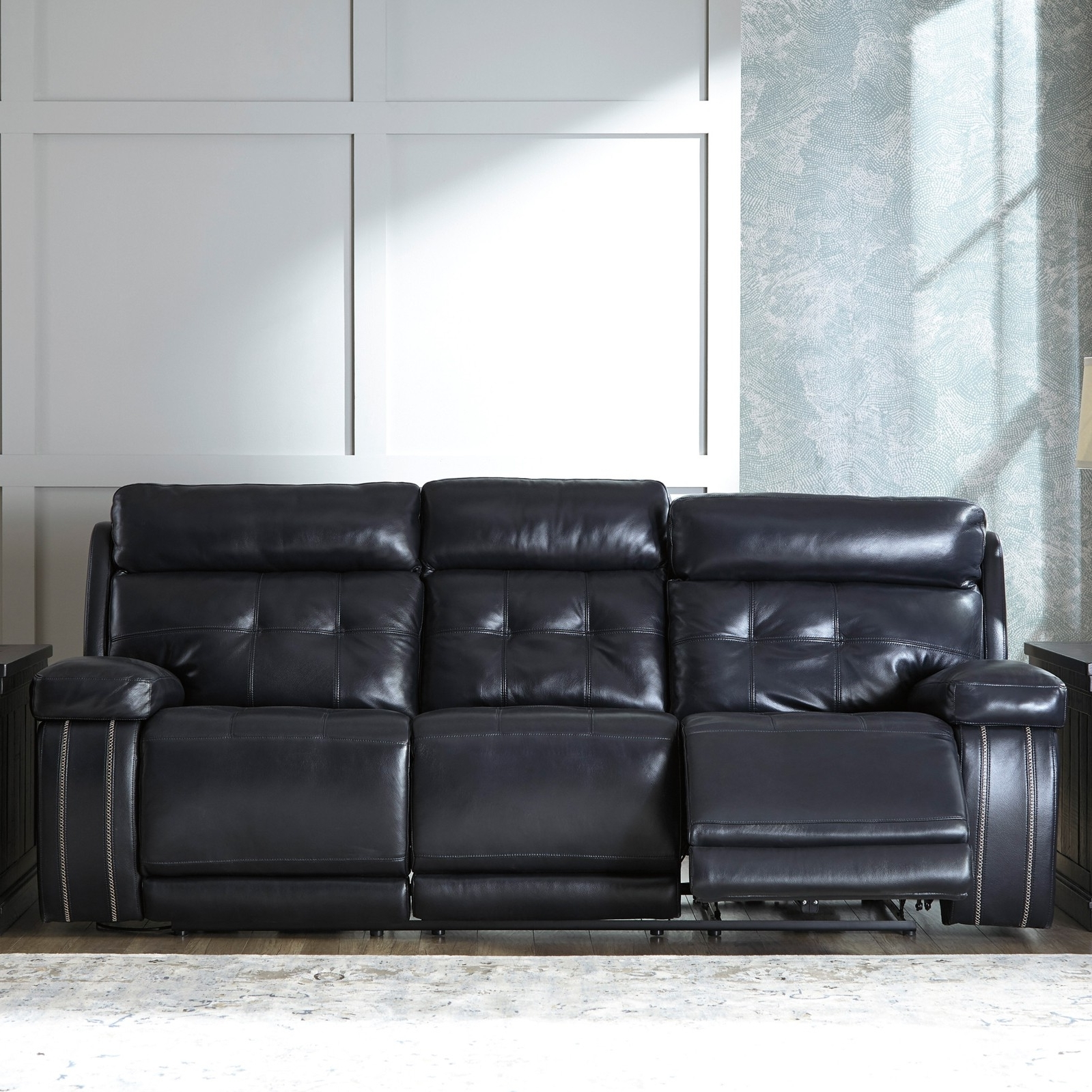 Graford Navy Power Recliner Sofa With Adjustable Headrest For Regarding Most Current Recliner Sofas (Gallery 5 of 17)