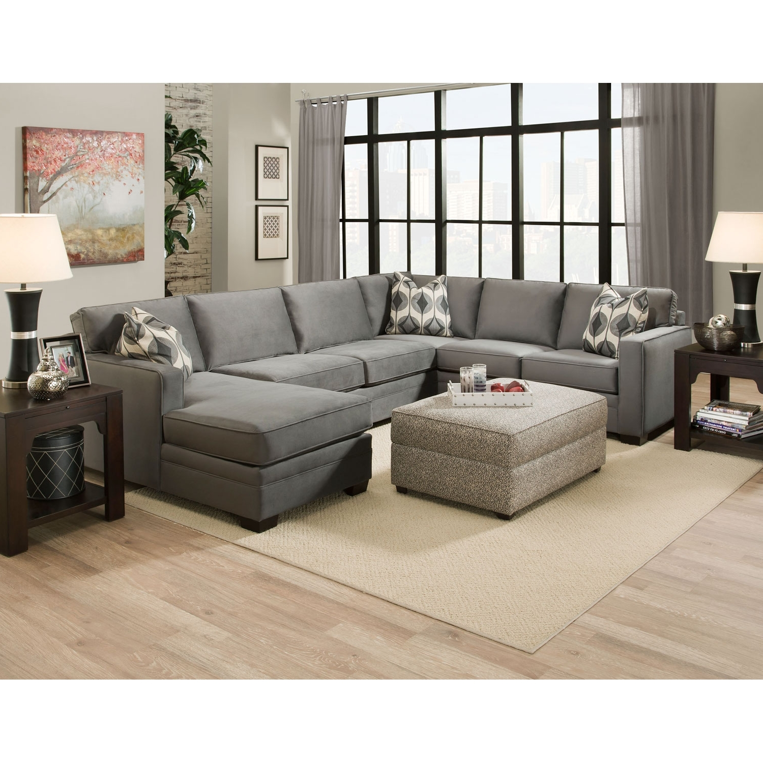 Gray Extra Large U Shaped Sectional Sofa With Chaise And Accent Intended For 2019 Extra Large U Shaped Sectionals (View 8 of 20)