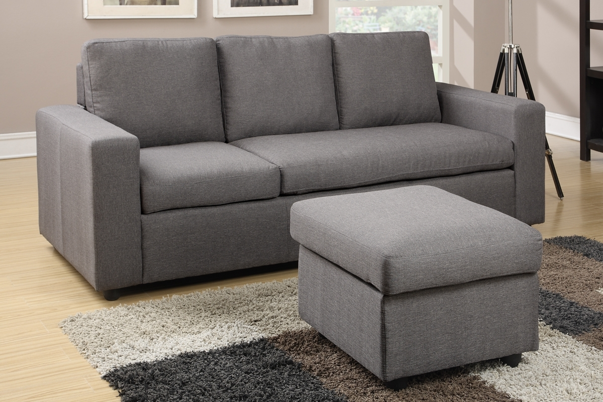 Gray Linen Convertible Chaise Sofa & Ottoman Set – Furniture Bureau Regarding Newest Mini Sectional Sofas (View 7 of 20)