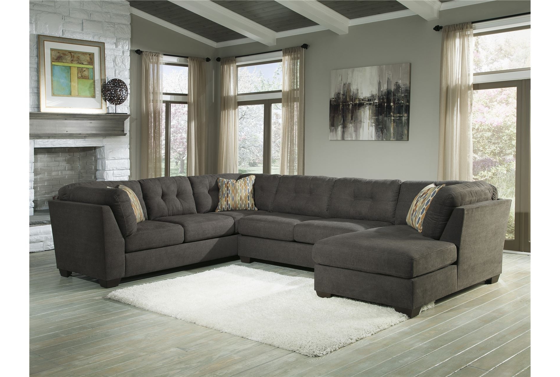 Gray U Shaped Sectionals Intended For Preferred Delta City Steel 3 Piece Sectional W/laf Chaise  Living Room (View 15 of 20)