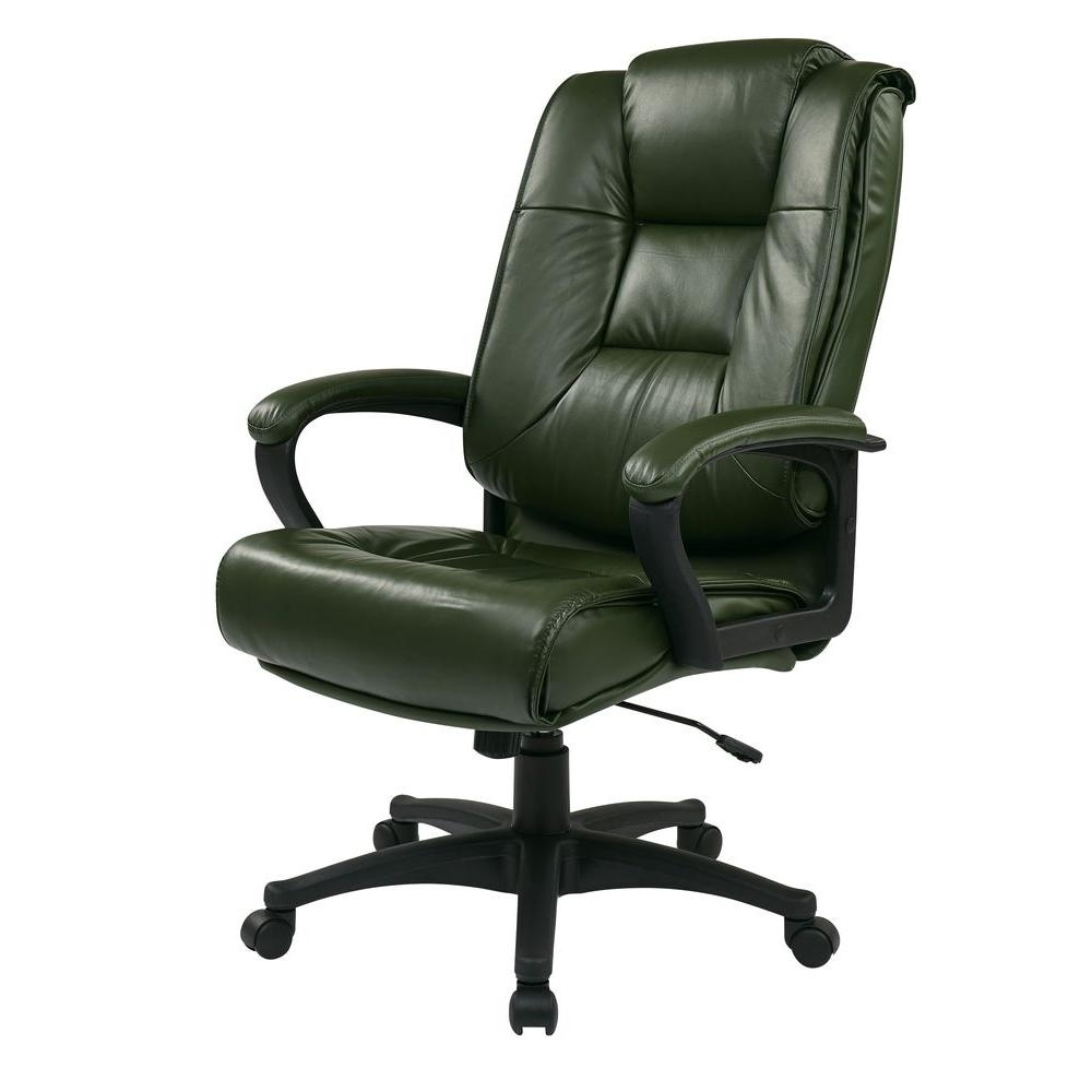 Green Leather Executive Office Chairs Regarding Most Recent Work Smart Green Leather Executive Office Chair Ex5162 G16 – The (Gallery 1 of 20)