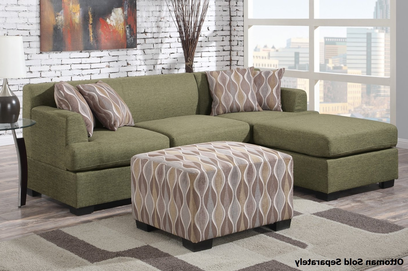 Green Sectional Sofas With Chaise With Most Recent Montreal Ii Green Fabric Sectional Sofa – Steal A Sofa Furniture (View 4 of 20)