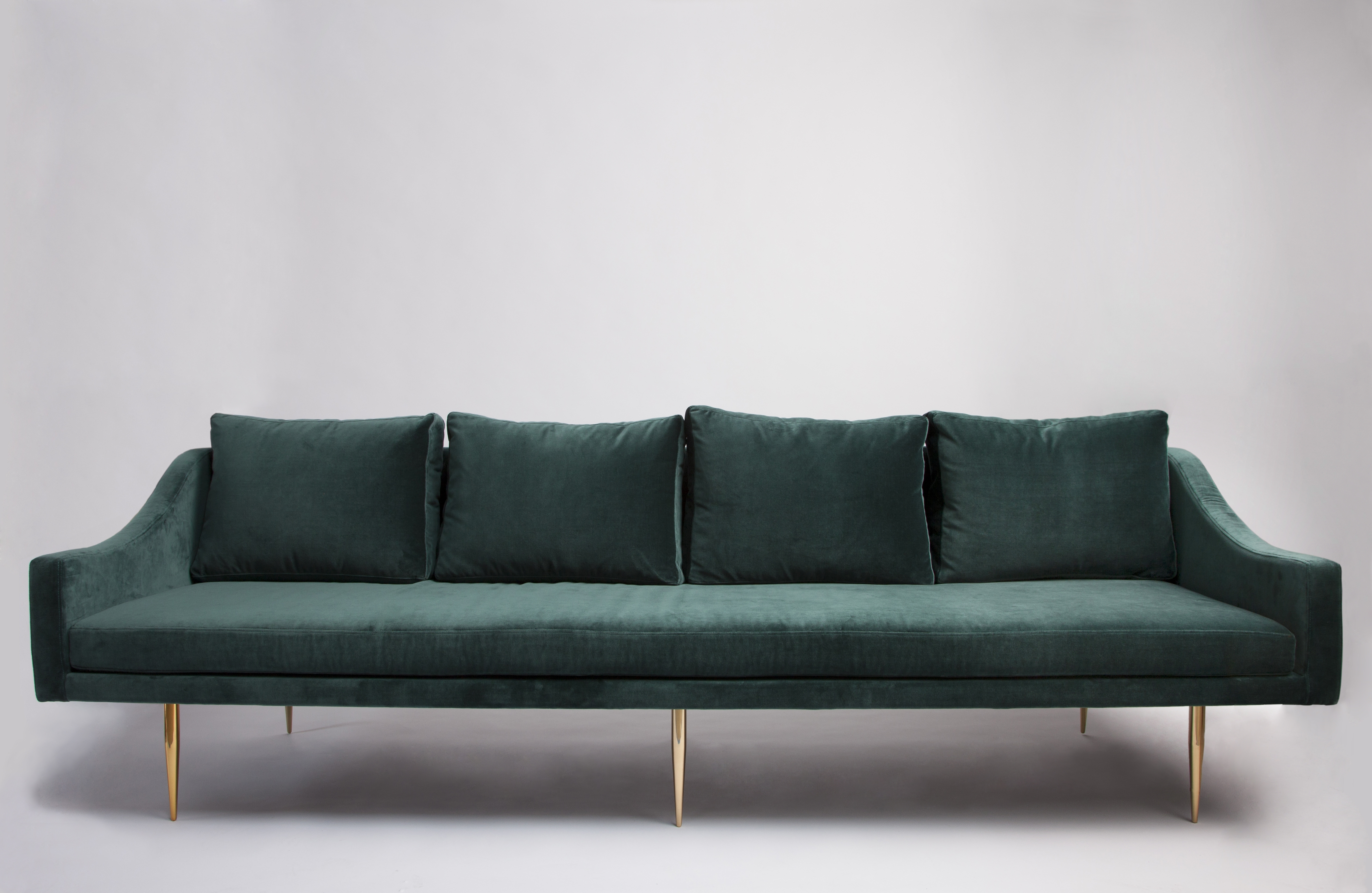 Green Sofa. Florence 3 Seat Teal Velvet Sofa With Gold Legs $2395 Throughout Most Popular Florence Sofas (Gallery 9 of 20)