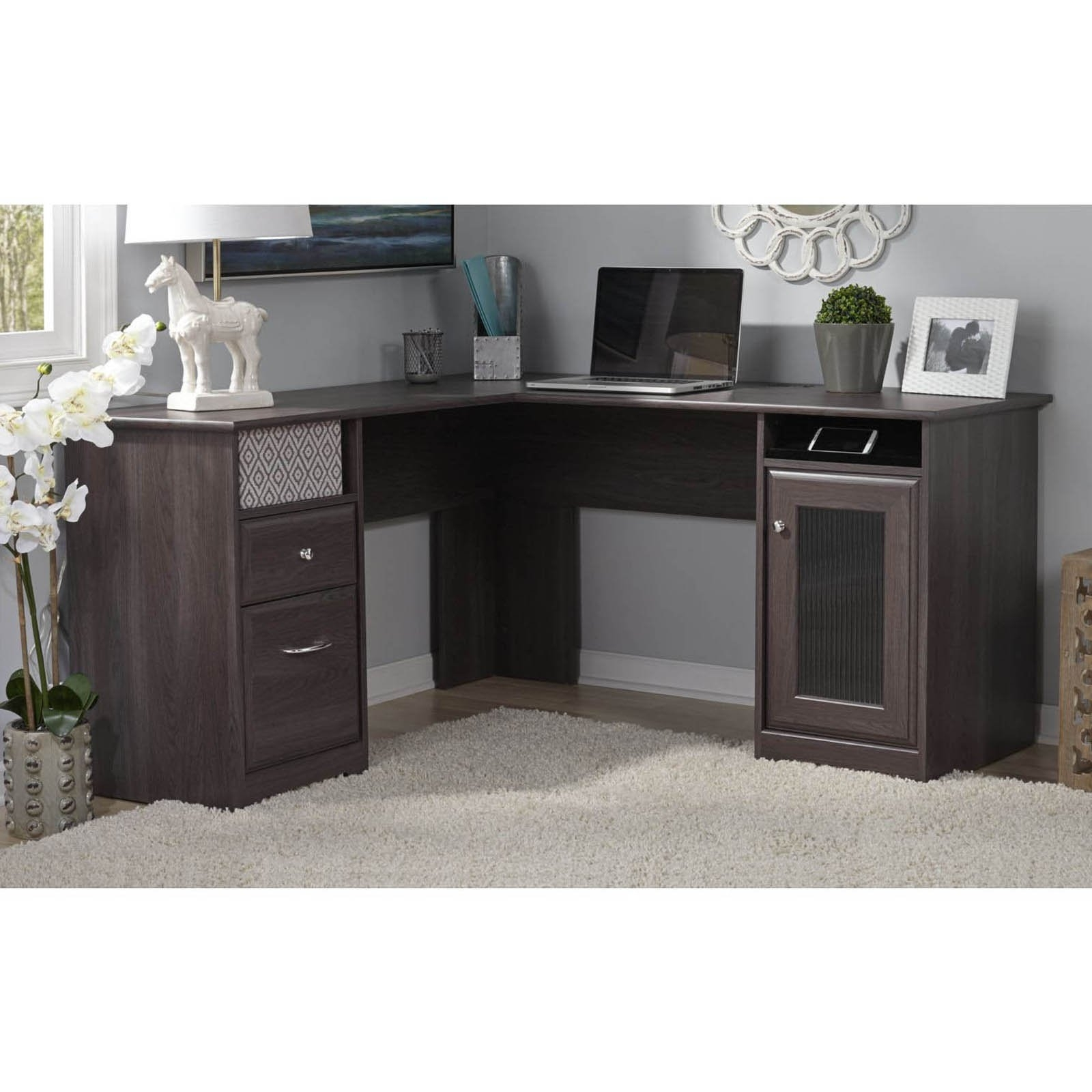 Grey Computer Desks In Favorite Bush Cabot L Shaped Desk With Optional Hutch (Gallery 18 of 20)