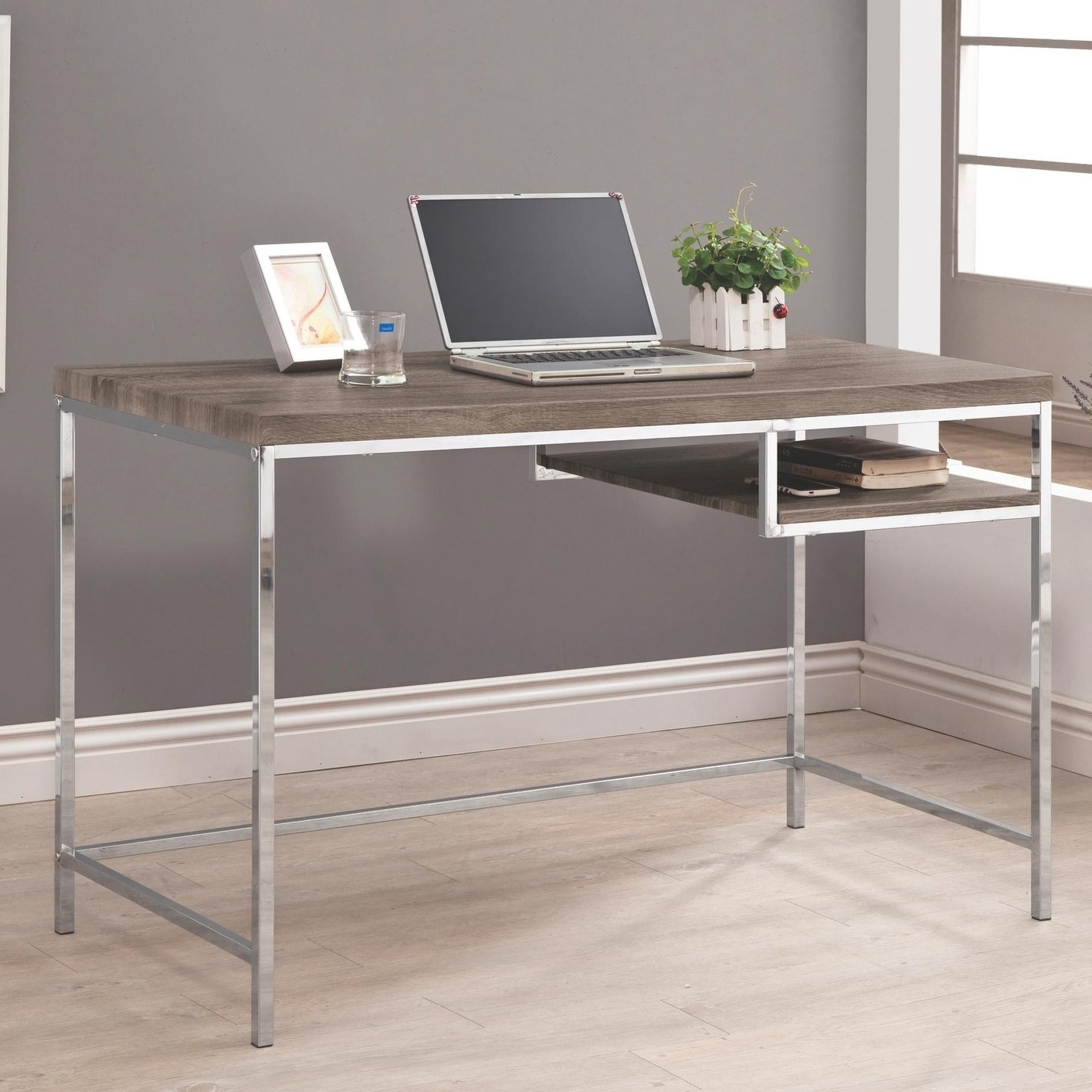 Grey Computer Desks Throughout Most Recently Released 66 Most First Class Wood And Metal Furniture Office Desk Simple (View 9 of 20)
