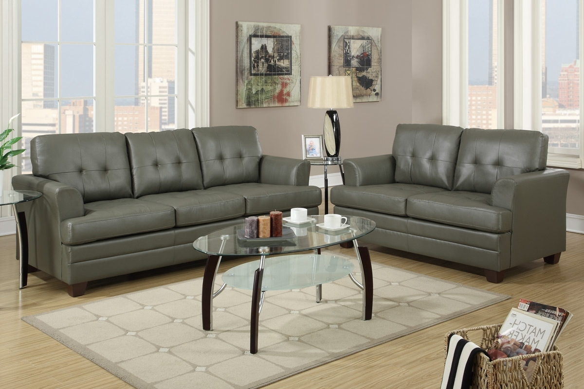 Grey Leather Sofa And Loveseat Set – Steal A Sofa Furniture Outlet For Latest Sofas And Loveseats (Gallery 11 of 20)