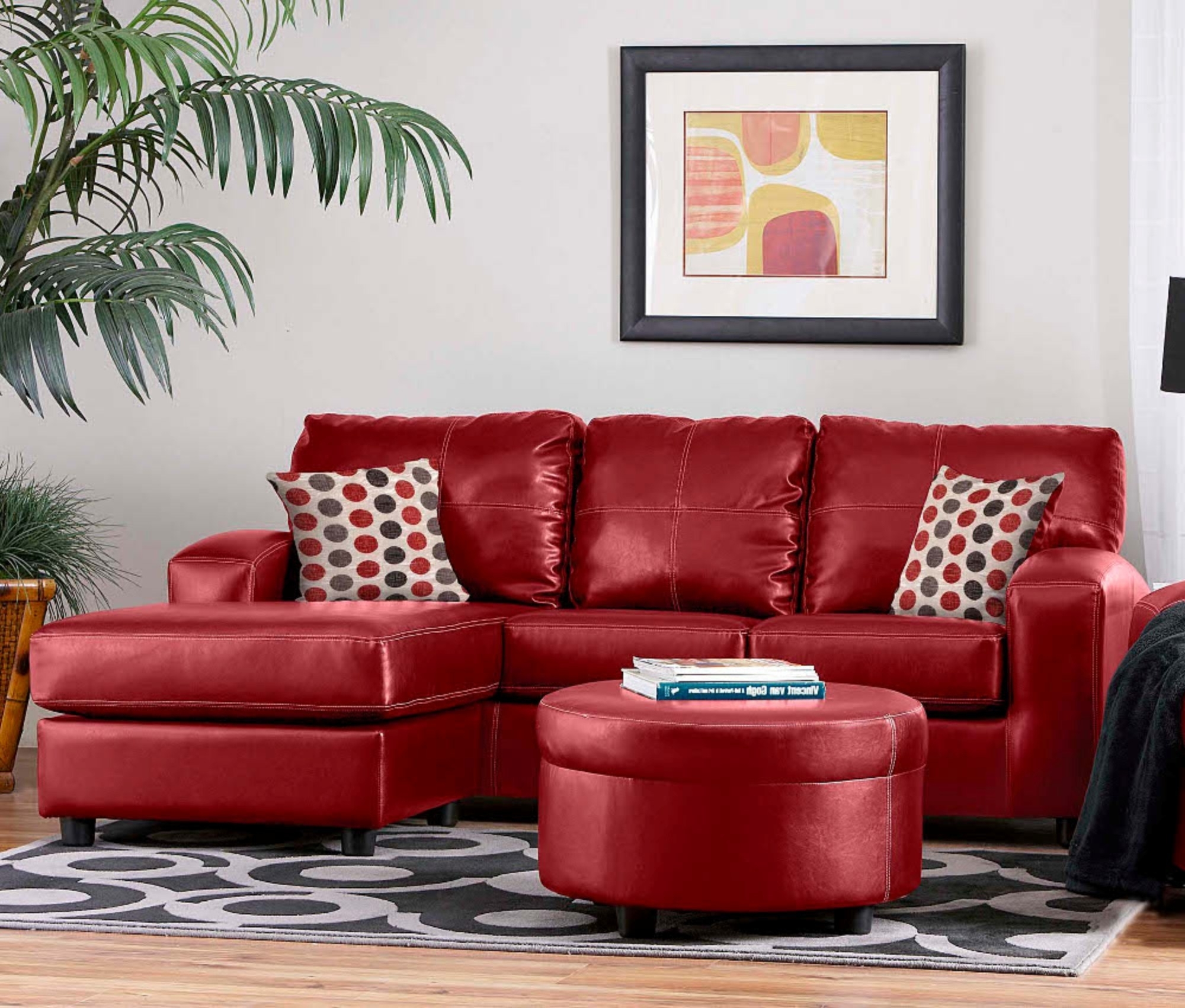 Grey Living Room Red Couch Imanada Leather Sectional Sofa With Pertaining To Well Known Red Leather Sectional Sofas With Ottoman (View 6 of 20)