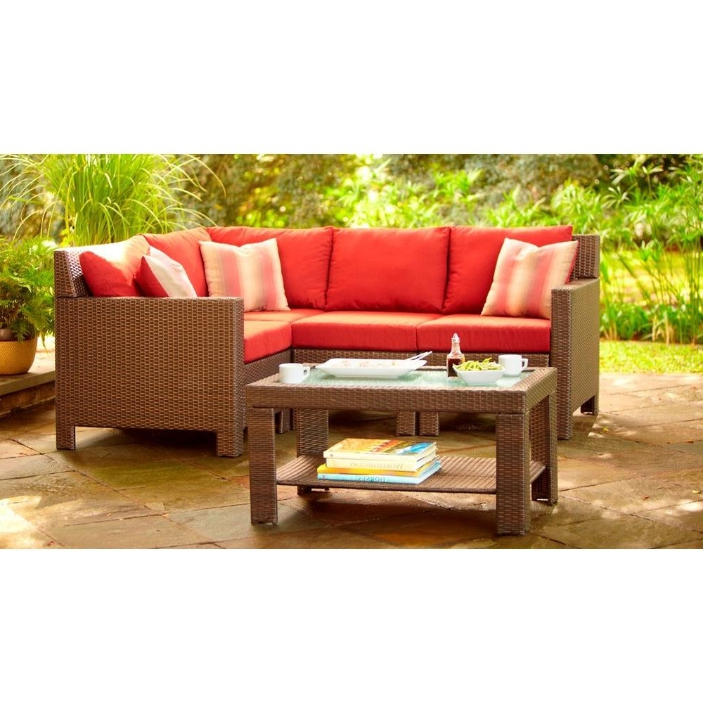 Hampton Bay Beverly 5 Piece Patio Sectional Seating Set With Regarding Most Up To Date Home Depot Sectional Sofas (View 8 of 20)