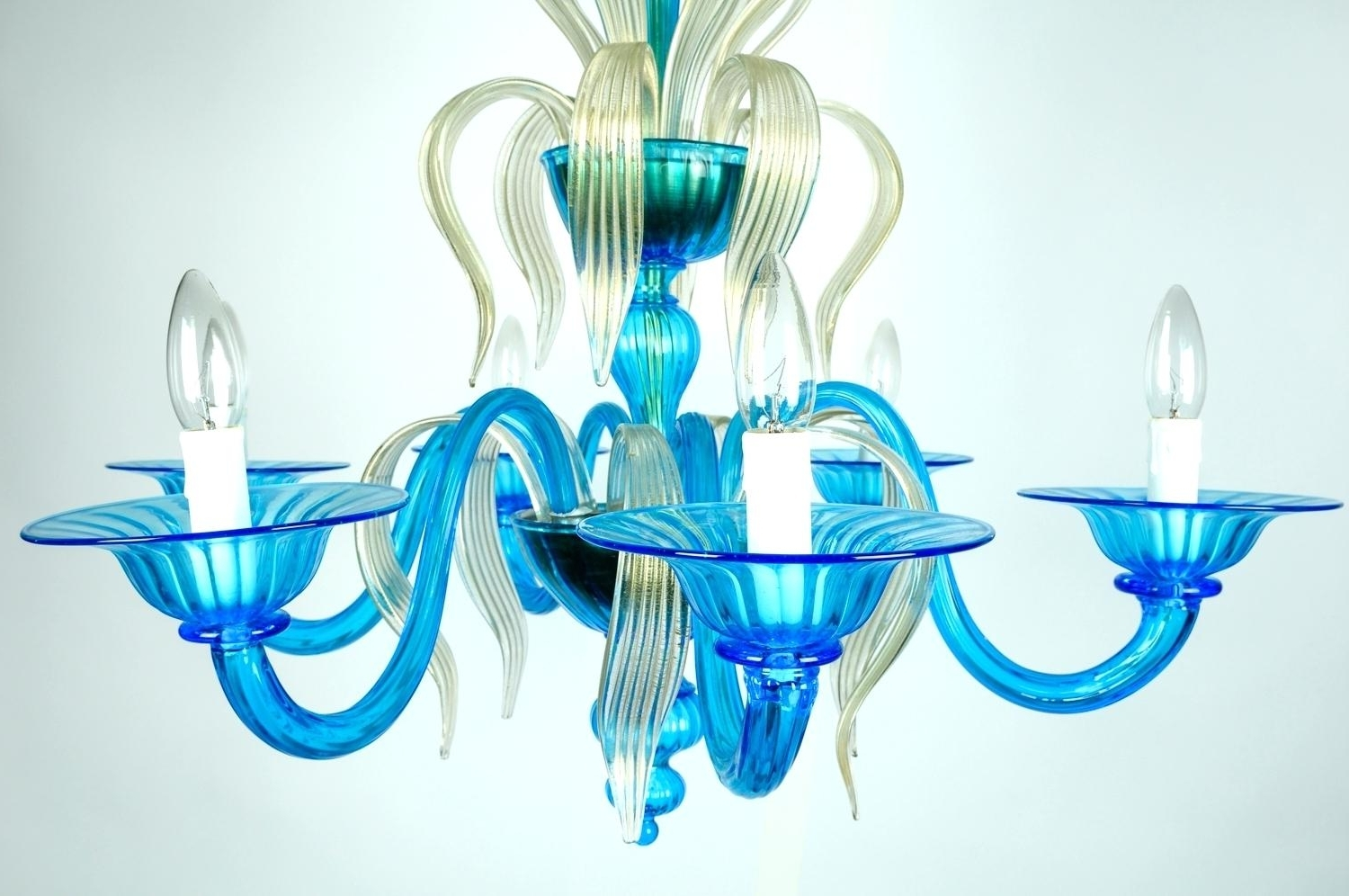 Hand Blown Glass Lighting Chandelier Chic Designer Crystal Latest Intended For Most Current Turquoise Blown Glass Chandeliers (View 6 of 20)