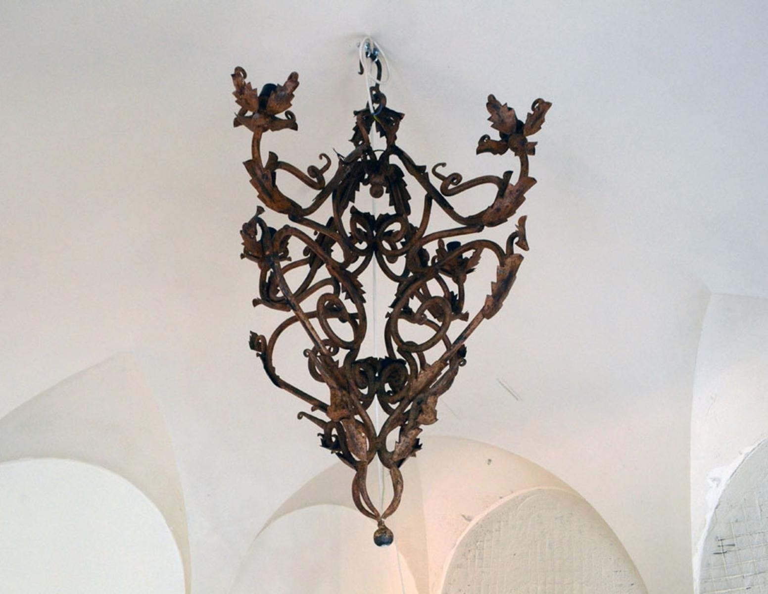 Hand Made Wrought Iron Chandelier, 1800s For Sale At Pamono Throughout 2019 Wrought Iron Chandelier (View 11 of 20)