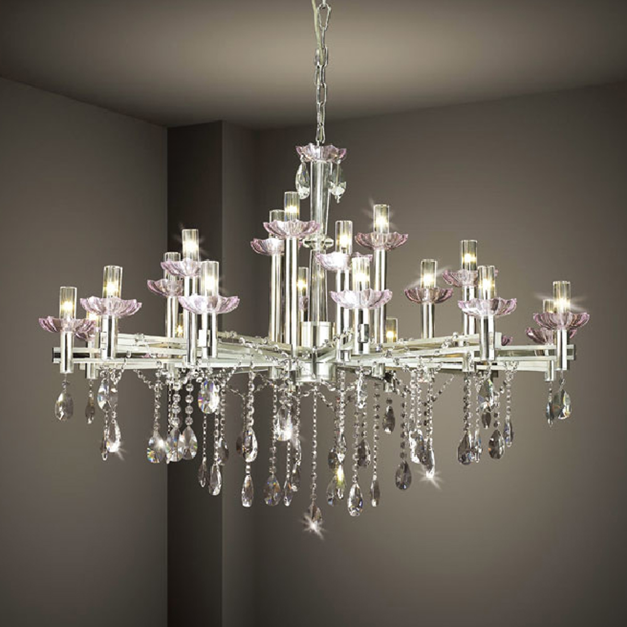 Hanging Modern Crystal Chandelier Lighting With Stainless Steel With Latest White And Crystal Chandeliers (View 6 of 20)