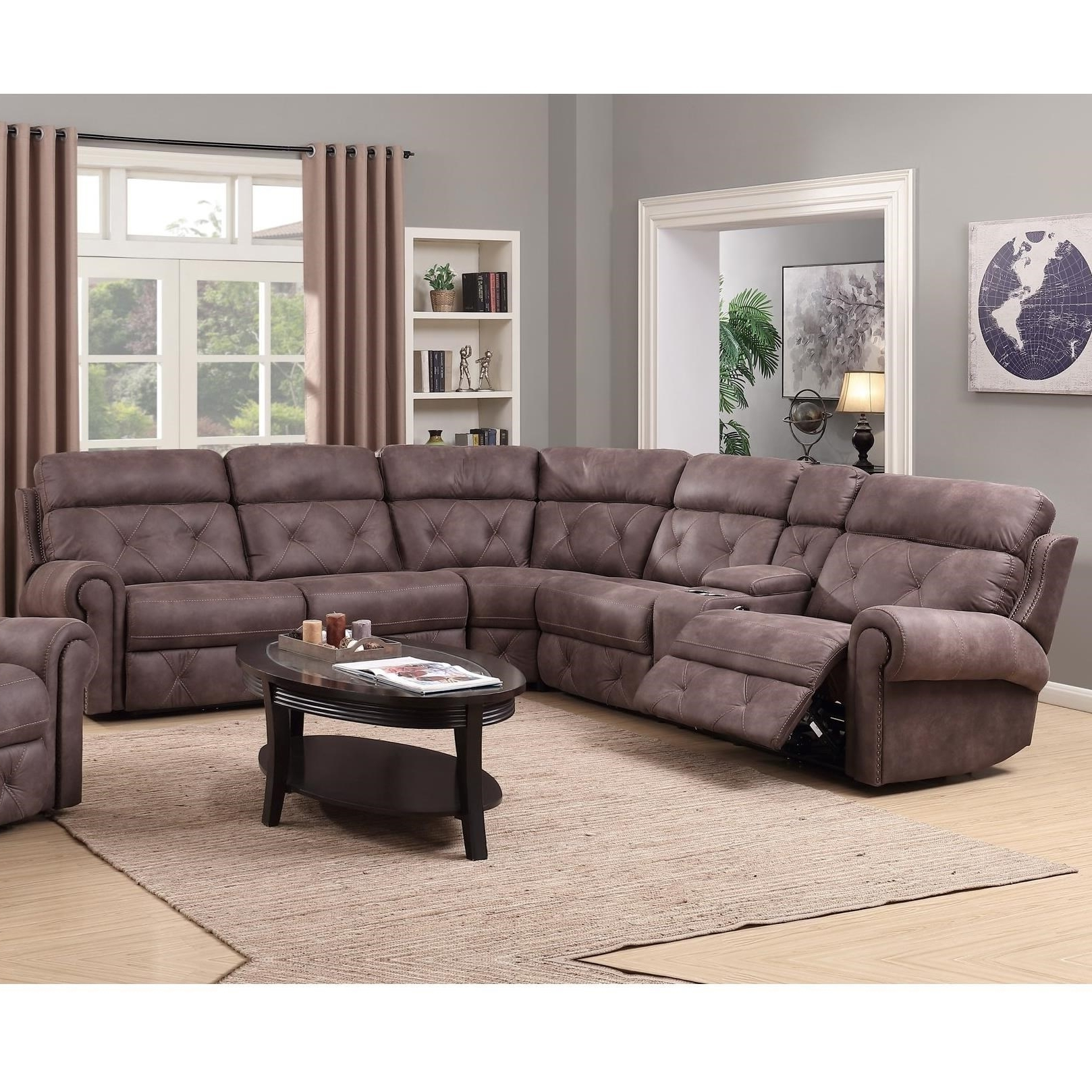 Happy Leather Company 1378 Power Reclining Sectional With Console For Famous Sectional Sofas At Birmingham Al (View 7 of 20)