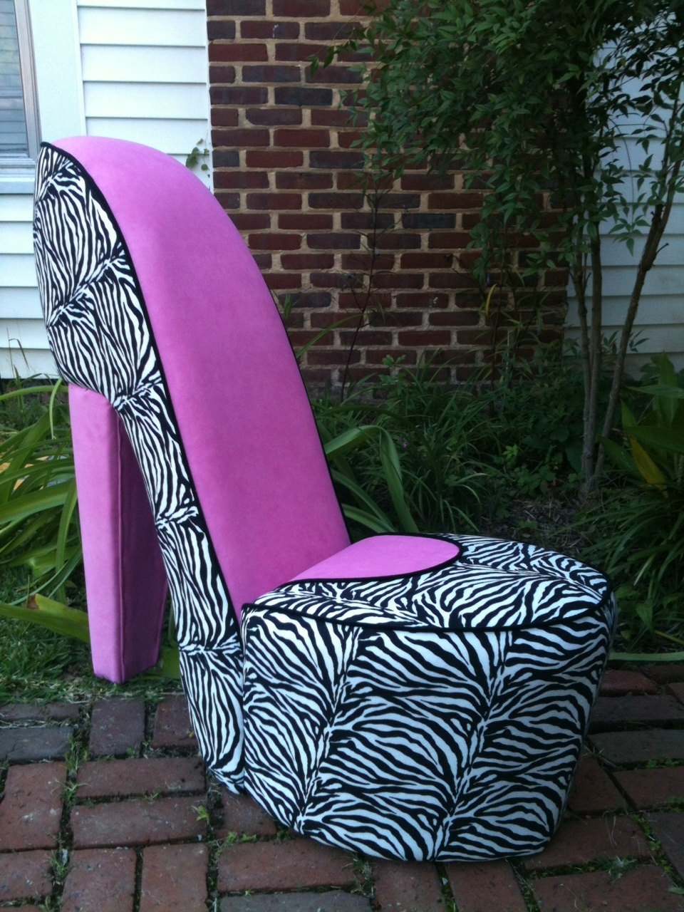 Heel Chair Sofas Pertaining To Most Up To Date Handmade Zebra & Pink High Heel Shoe Chairmerimeg On Etsy (View 10 of 20)