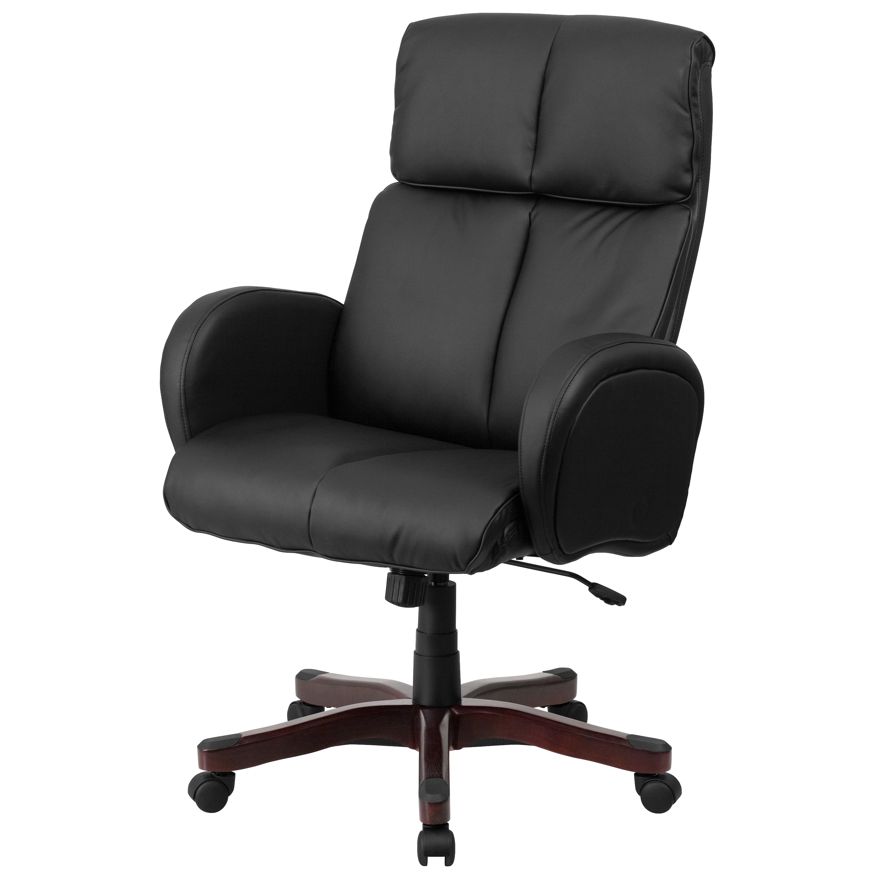 High Back Black Leather Executive Office Chair With Fully Pertaining To 2018 Upholstered Executive Office Chairs (View 4 of 20)