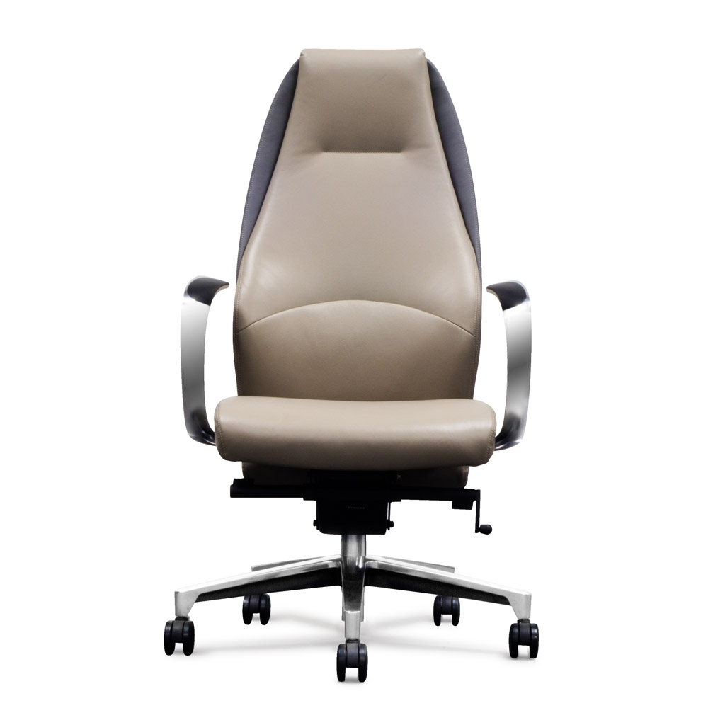 High Back Executive Office Chairs Throughout Most Current Wrigley Genuine Leather Aluminum Base High Back Executive Chair (View 8 of 20)