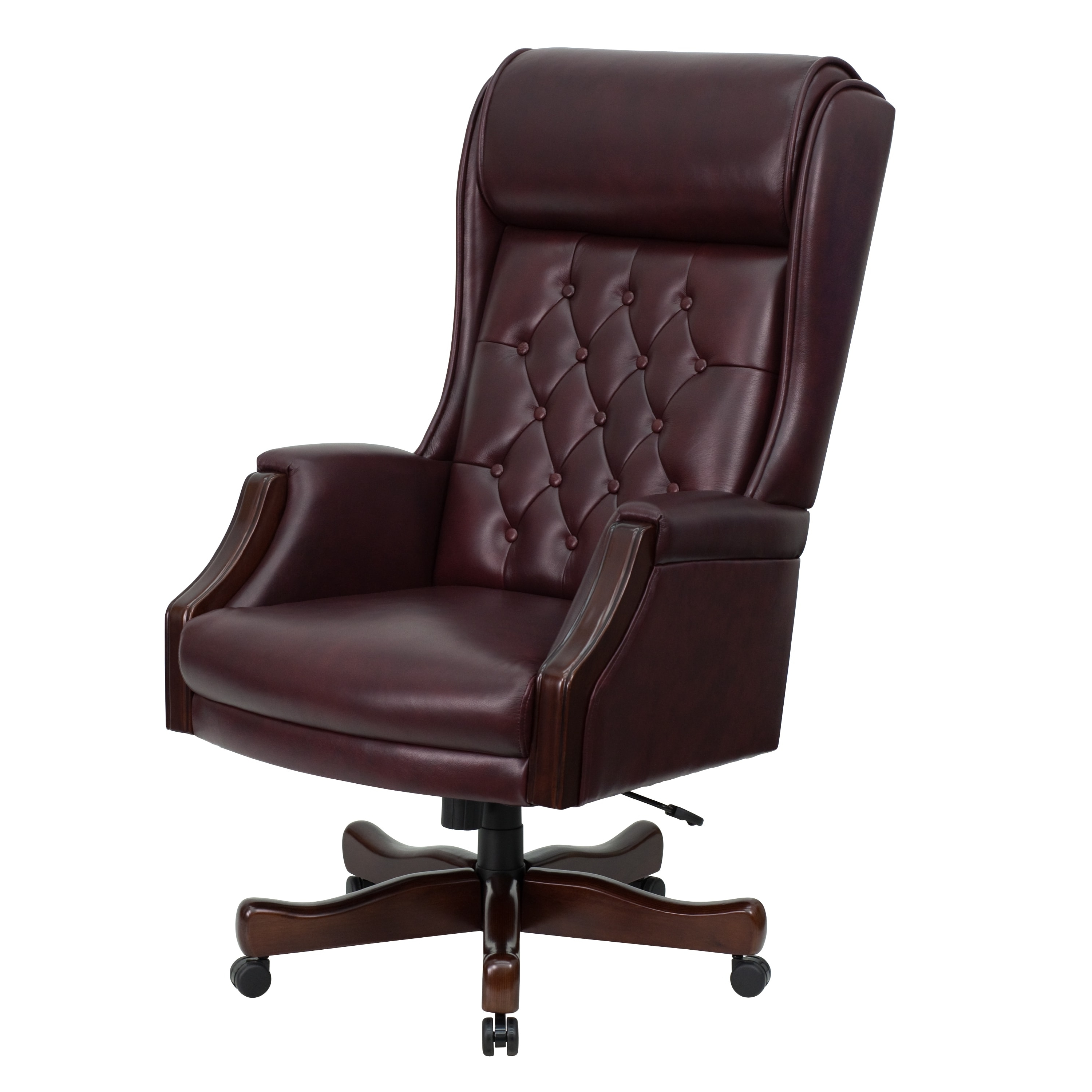 High Back Traditional Tufted Burgundy Leather Executive Office Intended For Fashionable Xl Executive Office Chairs (View 8 of 20)
