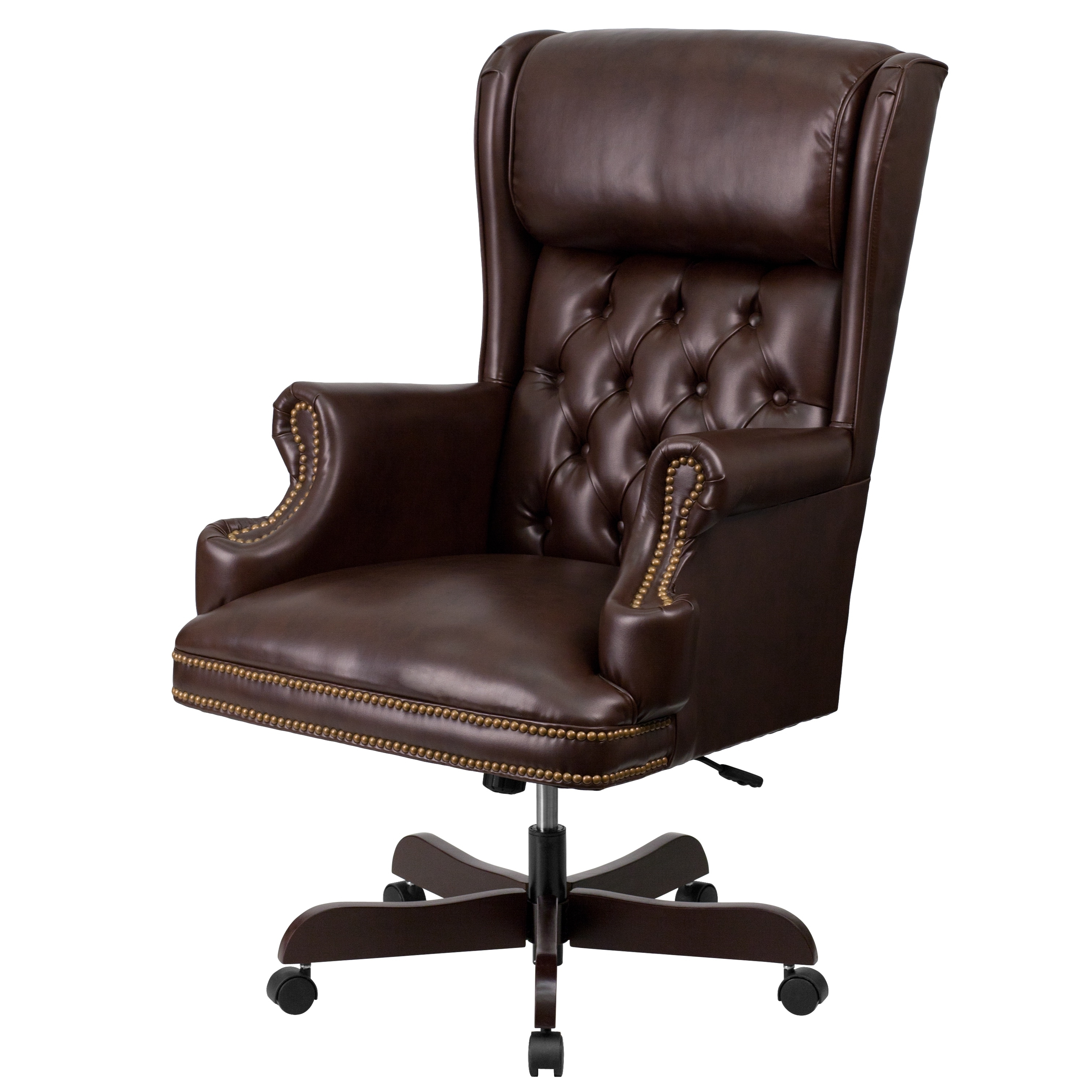 High Back Traditional Tufted Leather Executive Office Chair – Free In Preferred Executive Office Chairs Without Wheels (View 11 of 20)