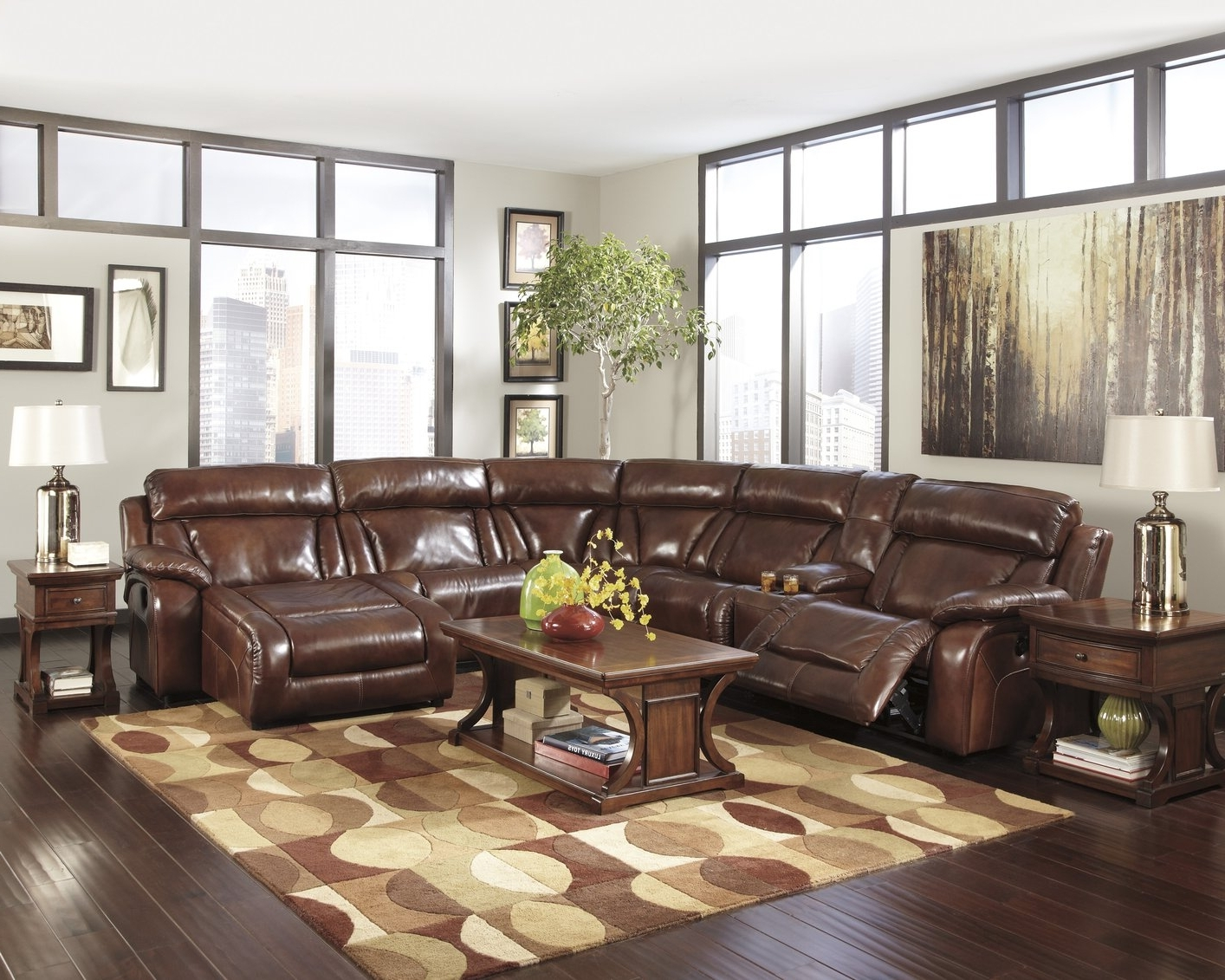 High End Leather Sectional Sofas Inside Well Liked Simmons Manhattan Sectional Instructions Brown Bonded Leather (View 11 of 20)