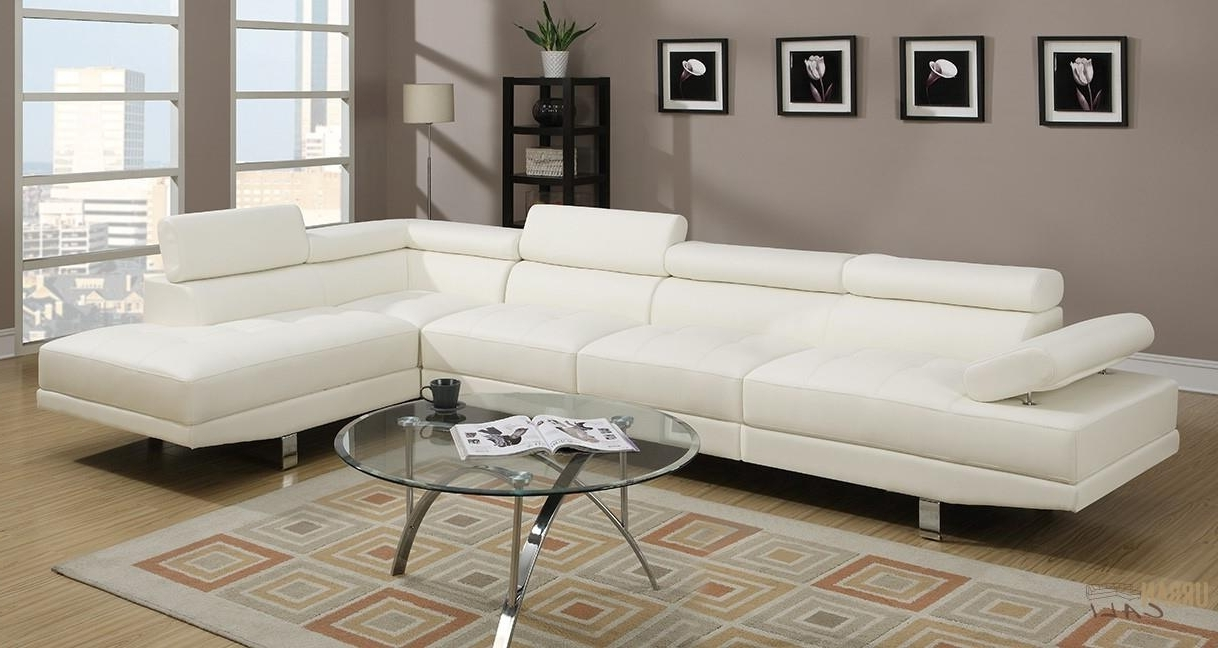 Hollywood White Faux Leather Adjustable Sectional Sofa With Regarding Recent Armless Sectional Sofas (View 9 of 20)