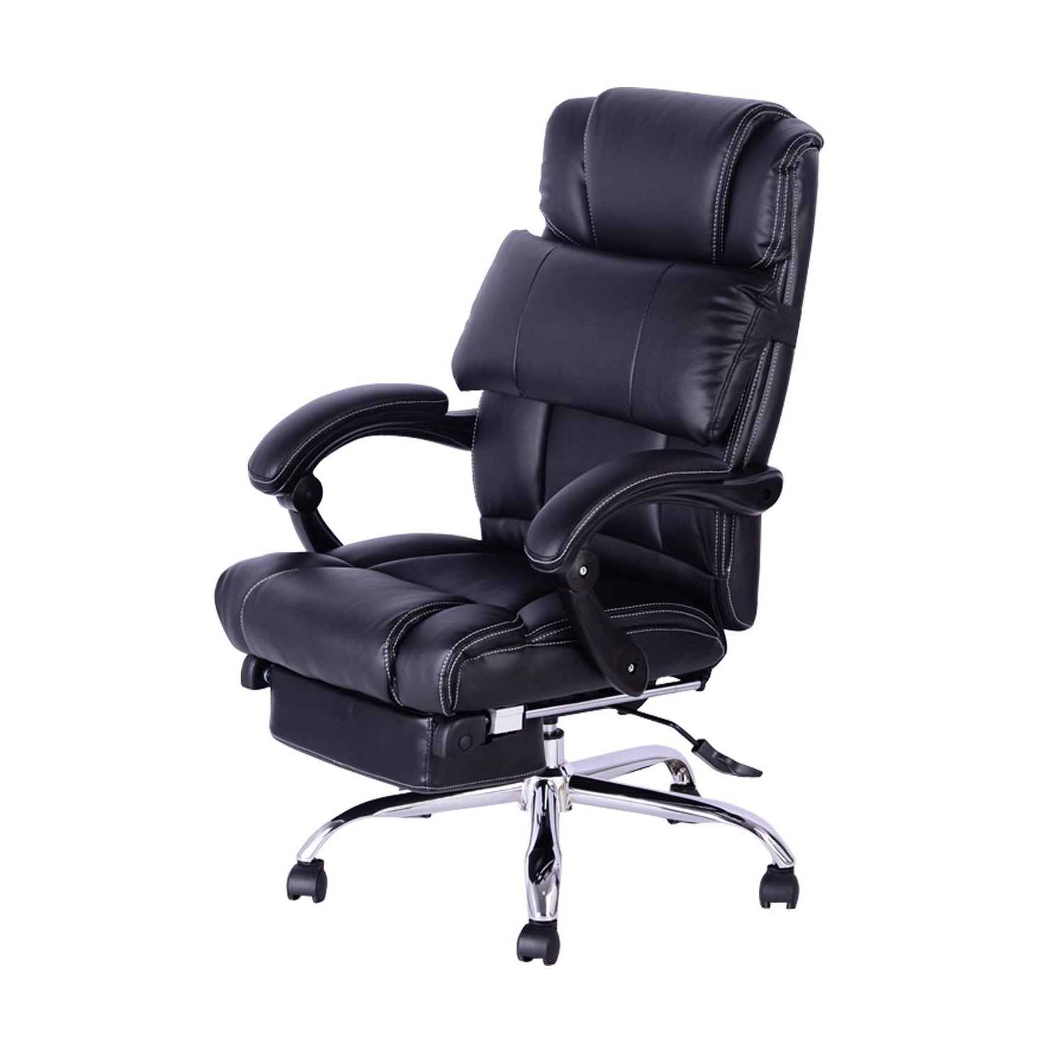 Homcom Executive Reclining Office Chair W/ Footrest – Black (View 12 of 20)