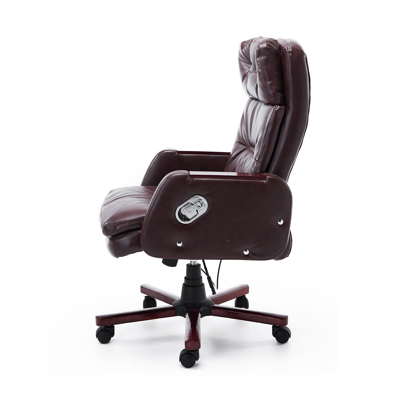 Homcom Faux Leather Reclining Office Chair Seat With Adjustable Throughout Most Up To Date Executive Office Chairs With Adjustable Lumbar Support (View 8 of 20)