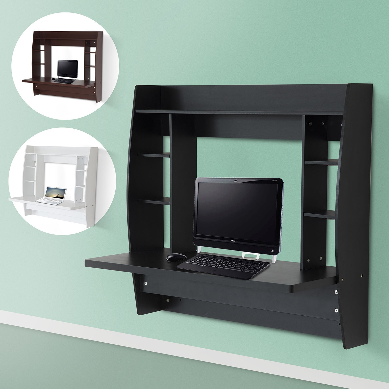 Homcom Floating Wall Mount Office Computer Desk With Storage Black With Well Known Wall Computer Desks (View 7 of 20)