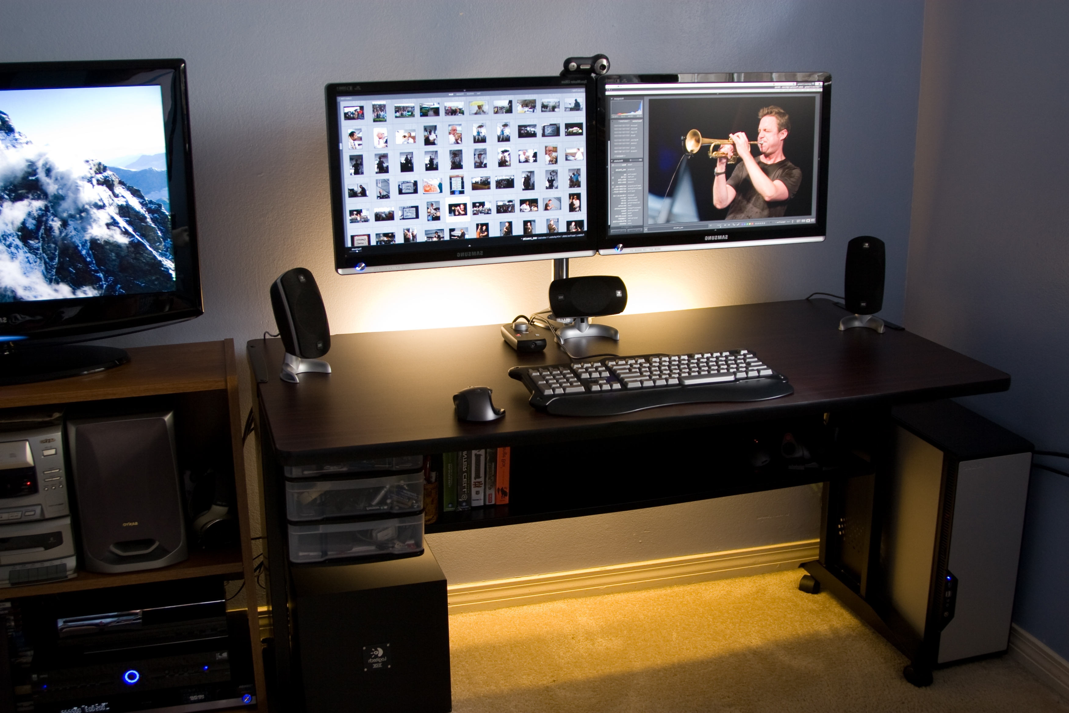 Home Decor: Perfect Dual Monitor Computer Desk Plus Armoire For Regarding Most Current Computer Desks With Monitor Mount (View 4 of 20)