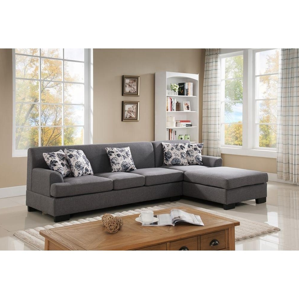 Home Depot Sectional Sofas Pertaining To Fashionable 2 Piece Brown Linen Sectional S0072 2pc – The Home Depot (View 9 of 20)