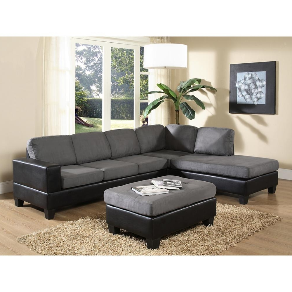 Home Depot Sectional Sofas Regarding Favorite Venetian Worldwide Dallin Gray Microfiber Sectional Mfs0003 L (View 2 of 20)