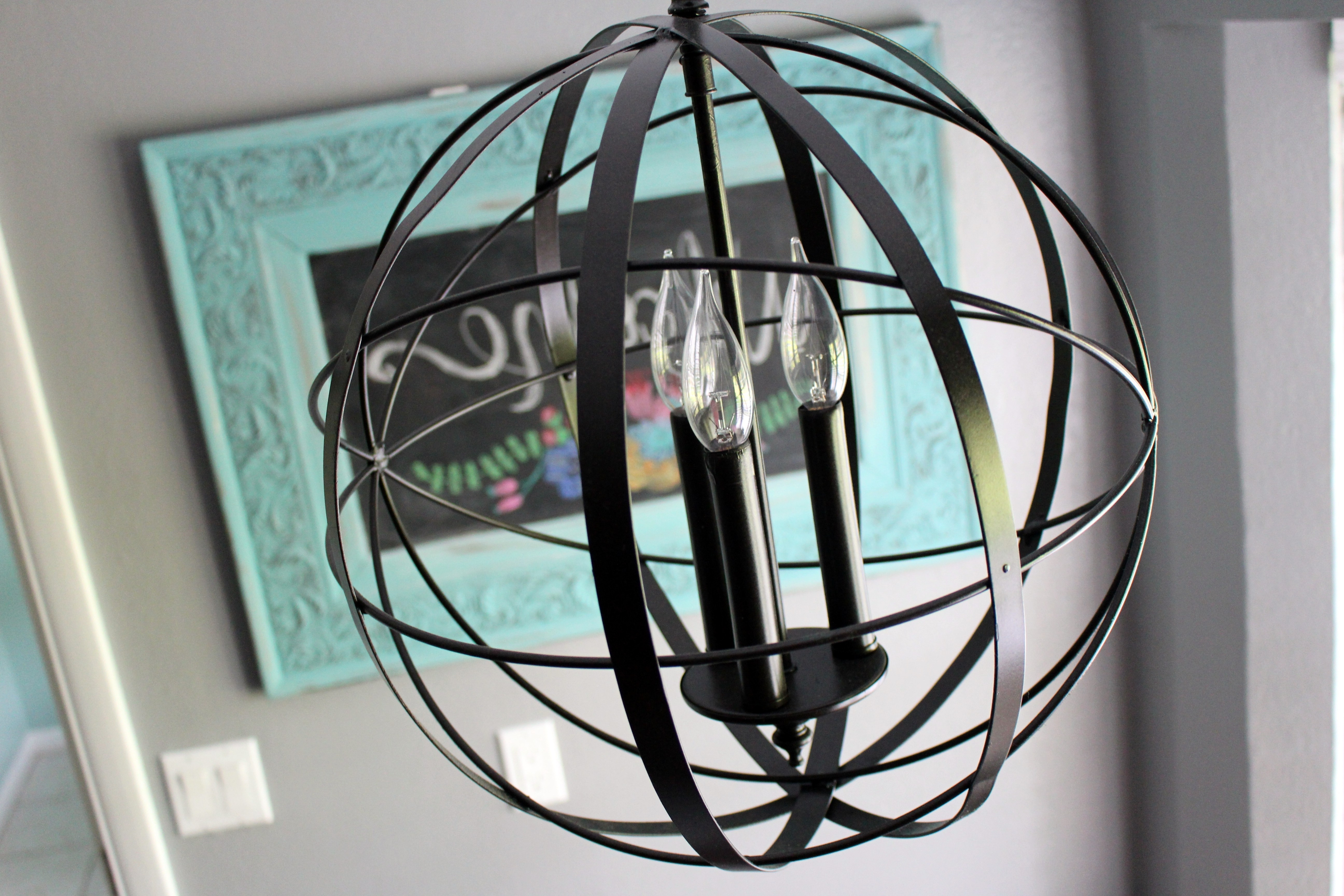 Home Project // Orb Chandelier For Breakfast Nook – Within The Grove With Regard To Well Known Turquoise Orb Chandeliers (View 4 of 20)