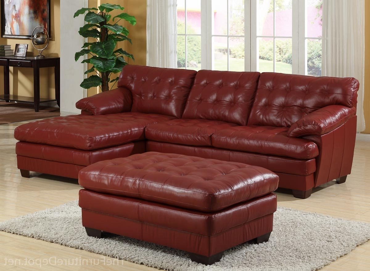 Homelegance 9817 All Leather Sectional Sofa Set – Red U9817red For Widely Used Red Leather Sectional Sofas With Ottoman (View 7 of 20)