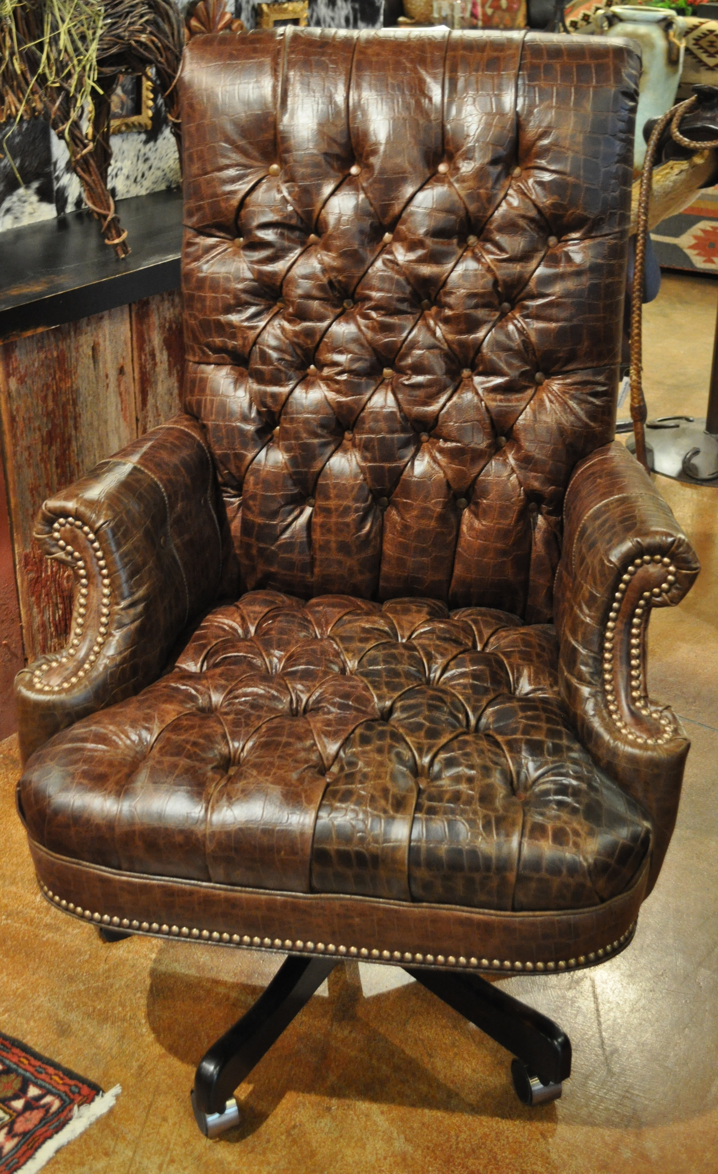 Hon Executive Office Chairs Inside Newest Leather Office Chair In Brown Tufted Embossed Croc (View 14 of 20)