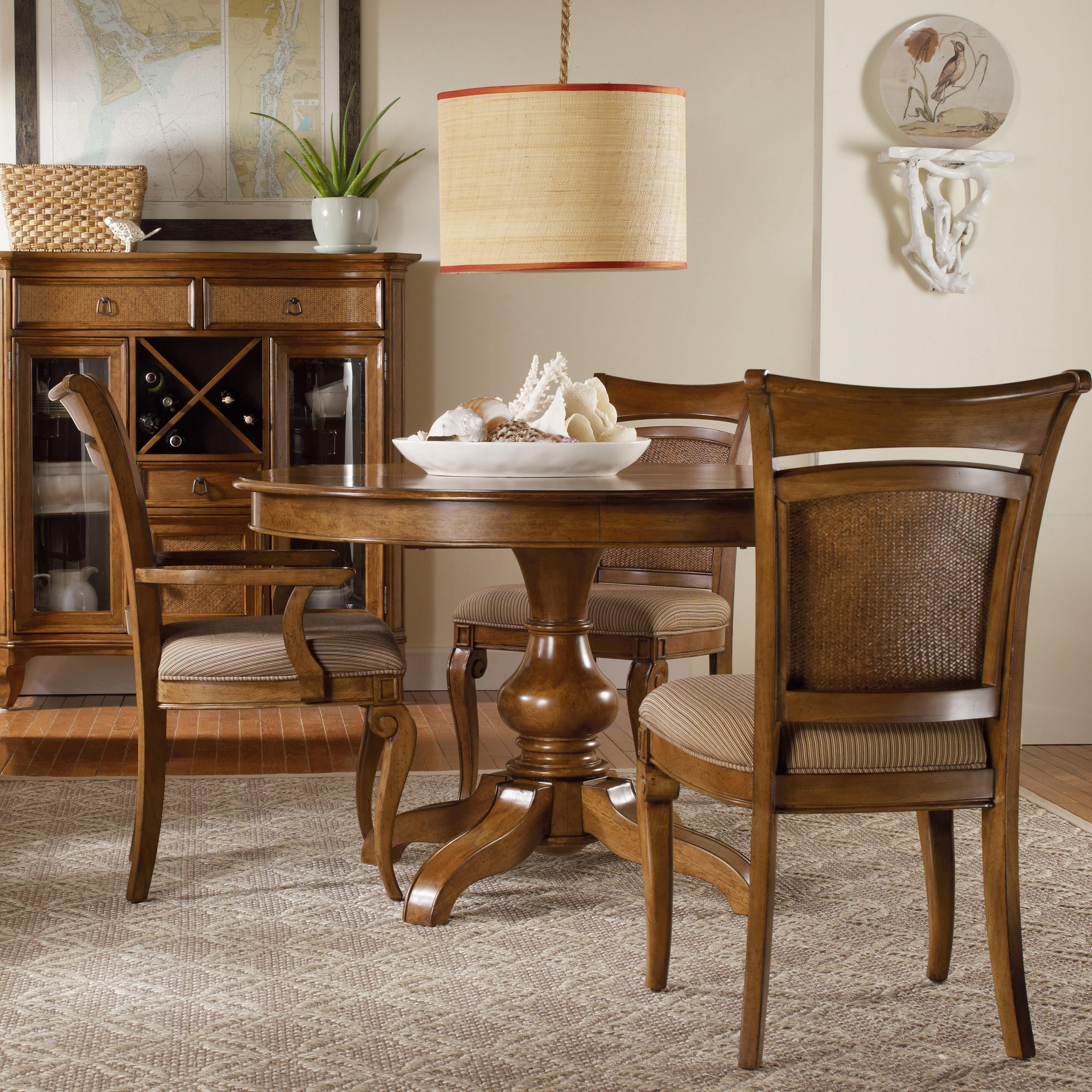 Hooker Furniture Windward Pedestal Dining Table & Raffia Chairs Inside Most Current Sofa Chairs With Dining Table (View 6 of 20)