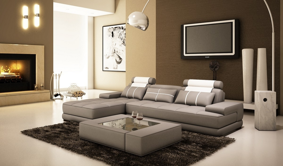 Houston Sectional Sofas With Most Current Divani Casa 5005A Mini Modern Grey And White Bonded Leather (View 10 of 20)