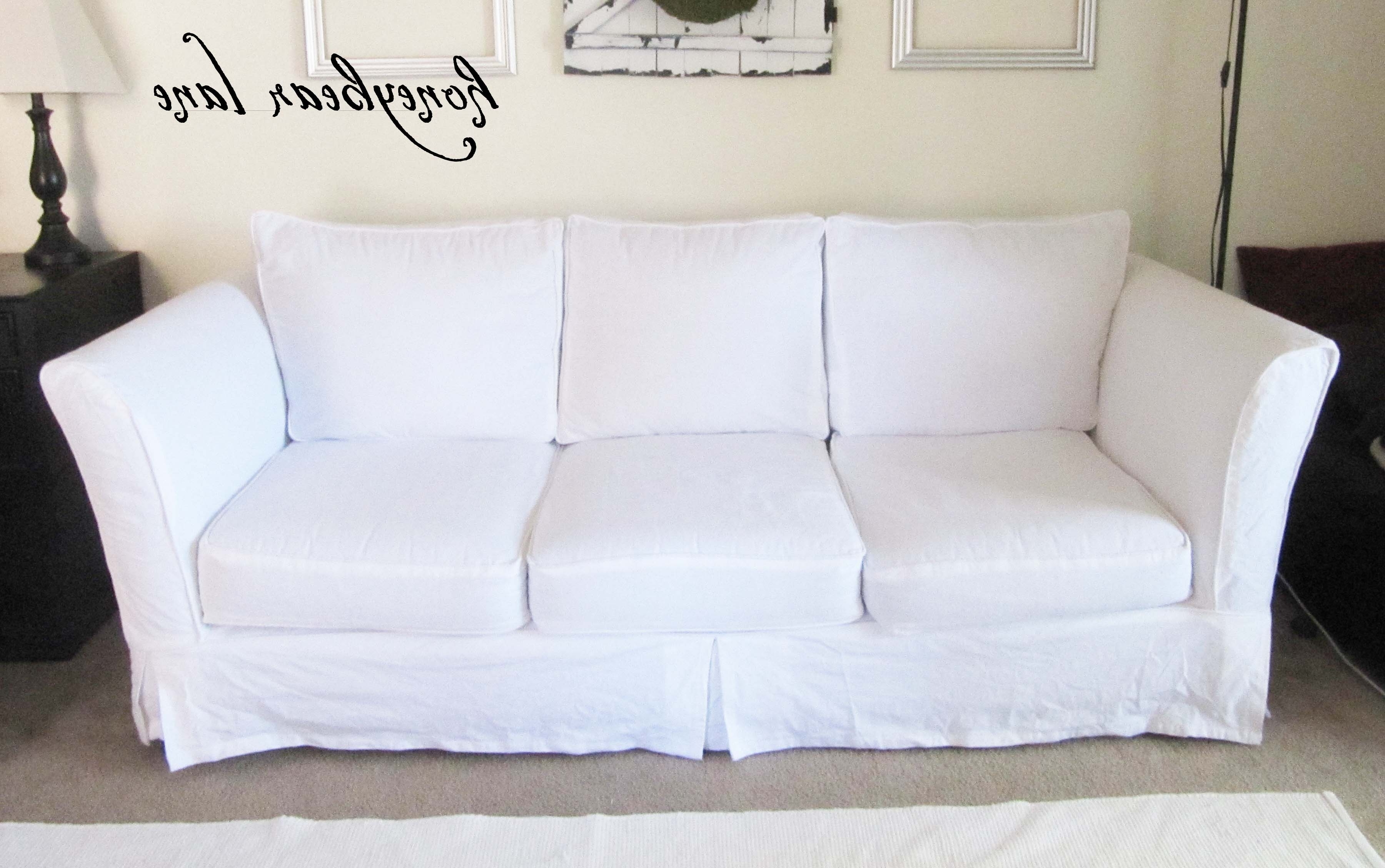 How To Make A Slipcover Part 2: Slipcover Reveal! – Honeybear Lane Inside Trendy Slipcovers Sofas (View 10 of 20)