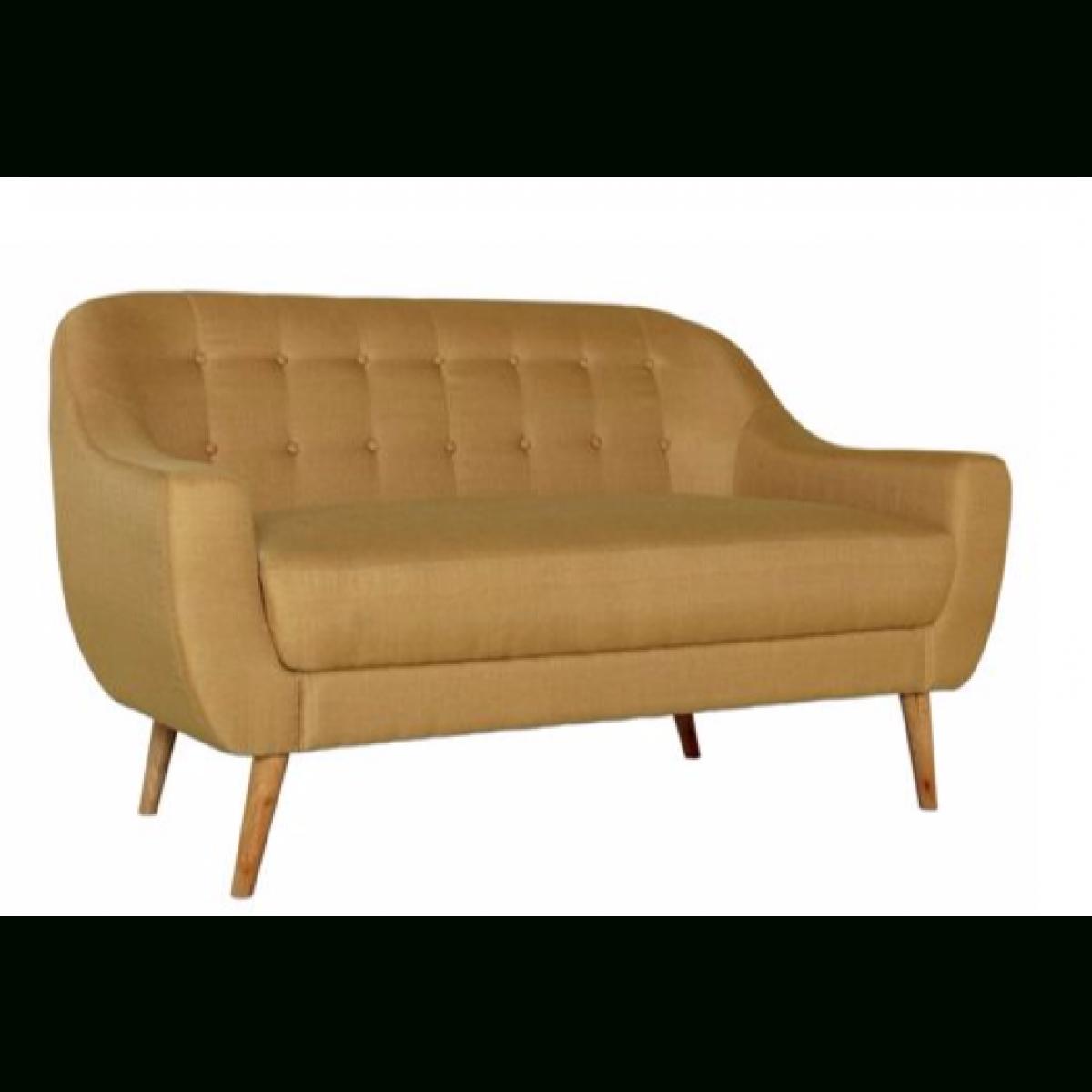 Hygena Lexie Retro Fabric Sofa 2 Seater Lemon Yellow (View 4 of 20)