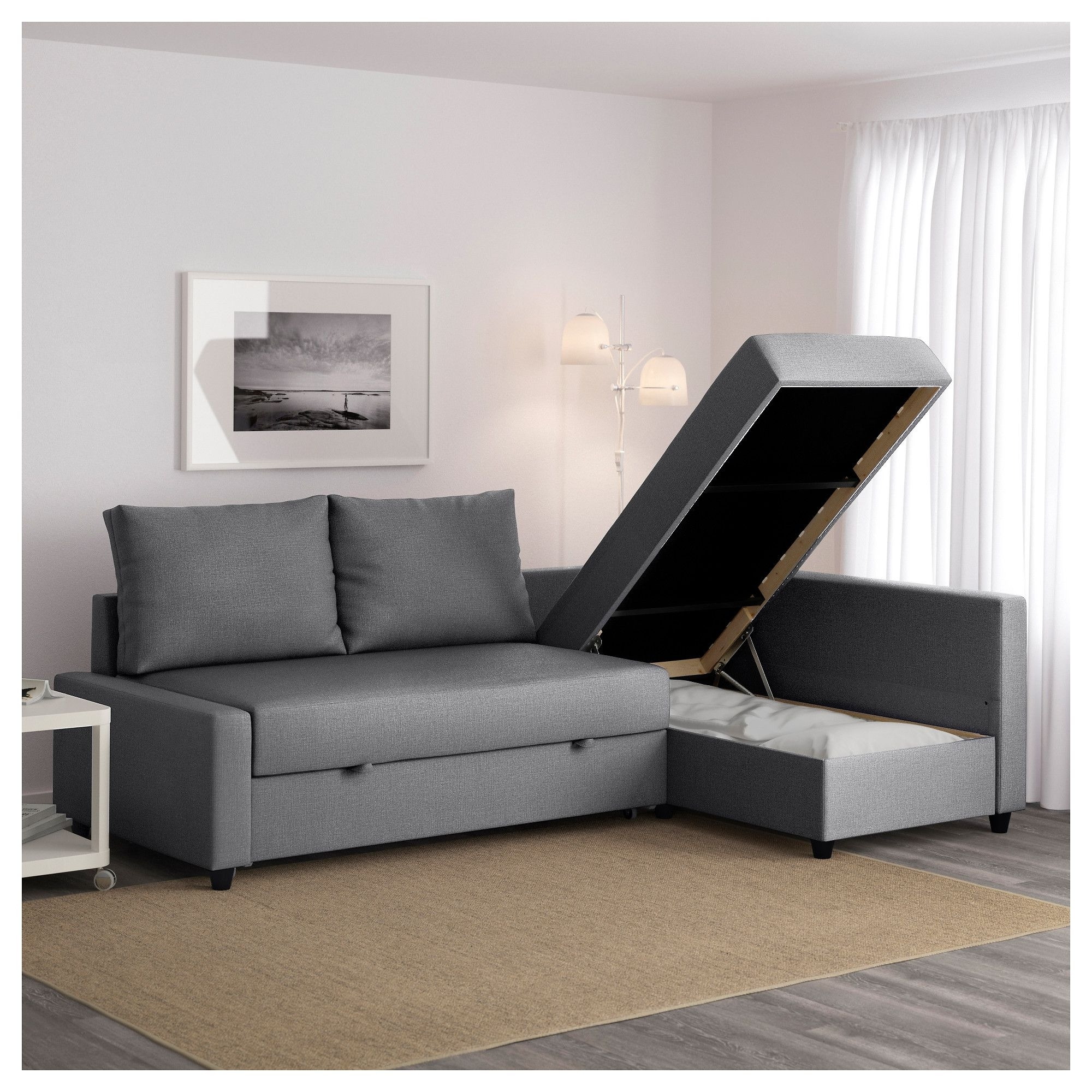 Ikea Corner Sofas With Storage In Best And Newest Friheten Corner Sofa Bed With Storage Skiftebo Dark Grey (View 3 of 20)