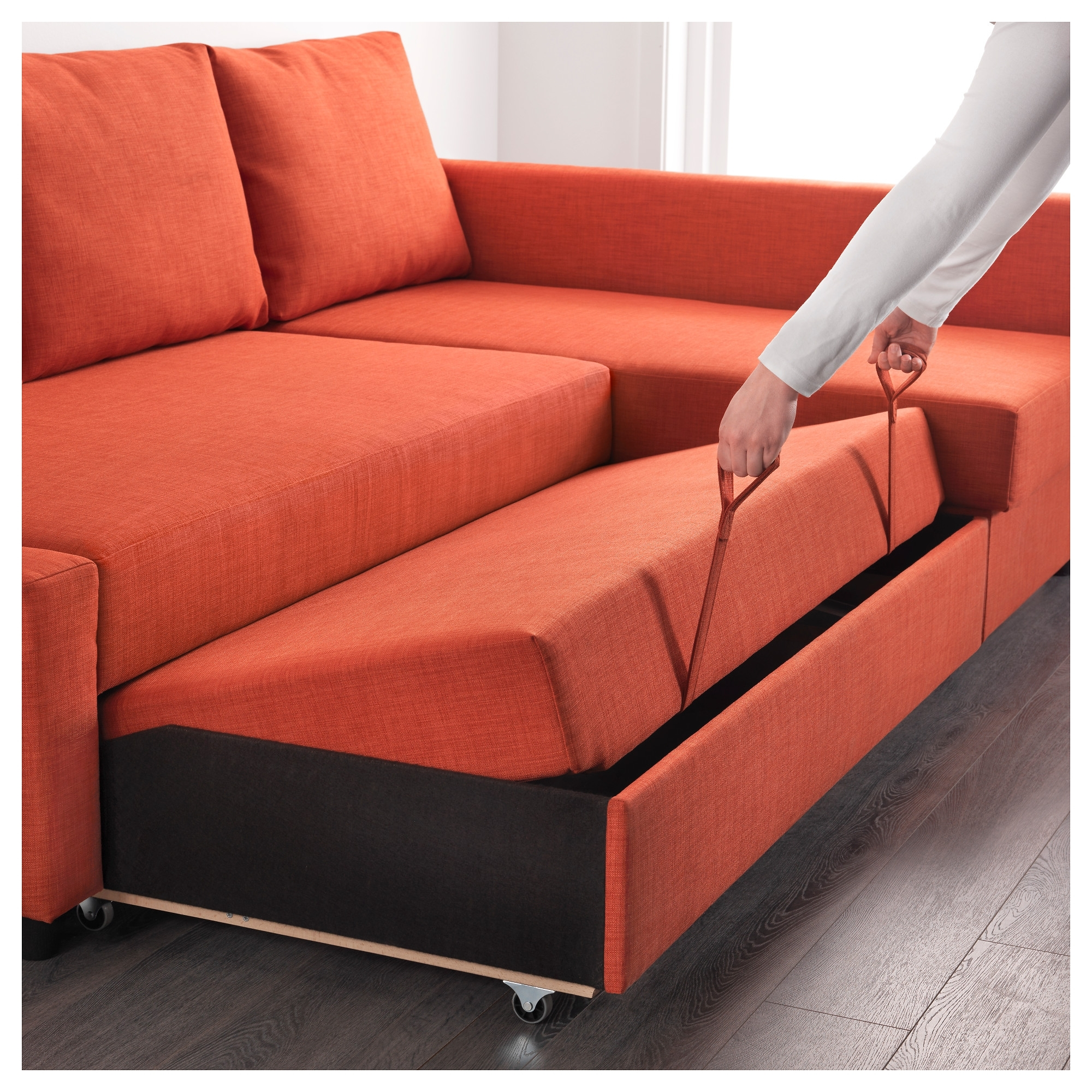 Ikea Corner Sofas With Storage With Regard To Well Liked Friheten Corner Sofa Bed With Storage Skiftebo Dark Orange – Ikea (Gallery 8 of 20)
