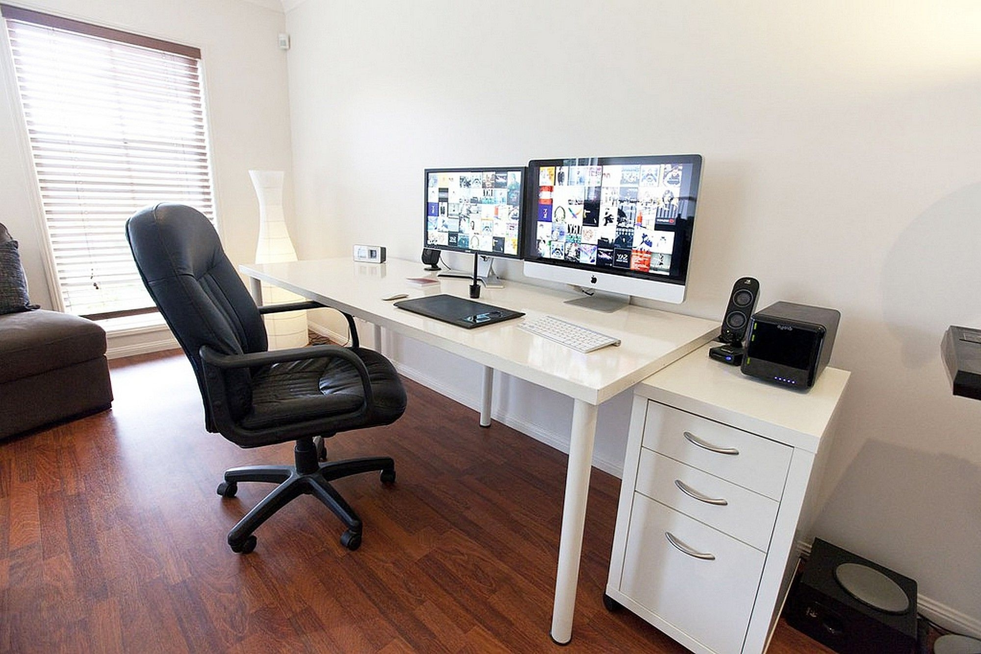 Ikea Linnmon Adils Computer Desk Setup With Drawer For Dual With 2018 Computer Desks For Two Monitors (Gallery 18 of 20)