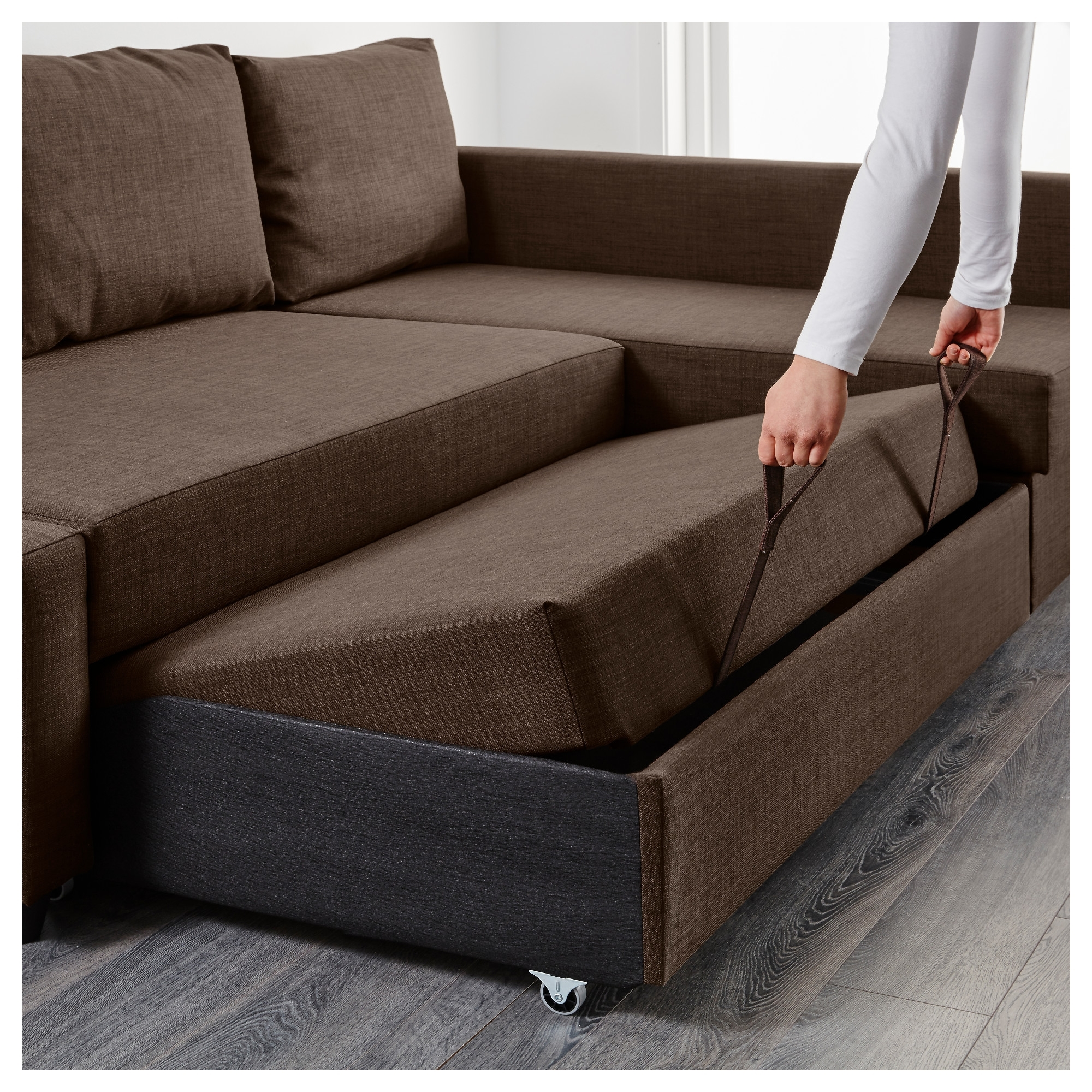 Ikea Sectional Sleeper Sofas For Well Liked Friheten Sleeper Sectional,3 Seat W/storage – Skiftebo Dark Gray (View 4 of 20)