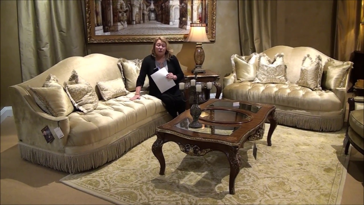 Imperial Court Living Room Sofa Setmichael Amini – Youtube In Well Liked Jamaica Sectional Sofas (View 4 of 20)