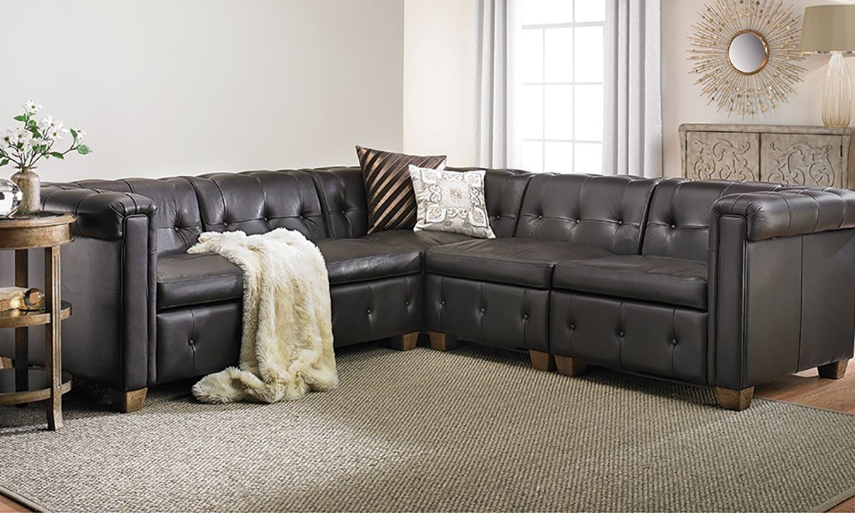 In Pella Trapuntata Leather Sectional Sofa (Gallery 4 of 20)