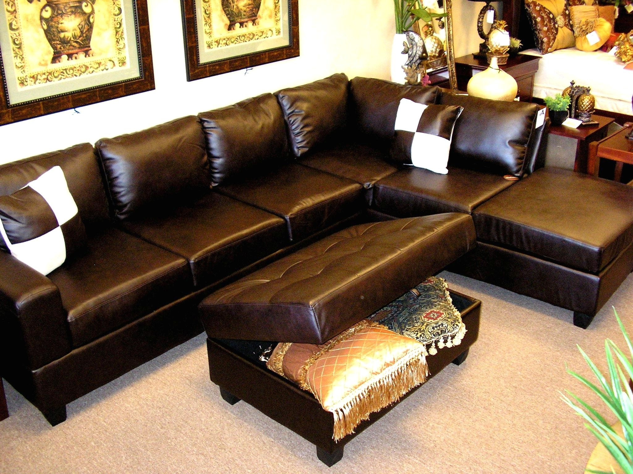 Incredible Dark Brown Bonded Leather L Shaped Sectional Sofa With Throughout Trendy Leather L Shaped Sectional Sofas (View 8 of 20)