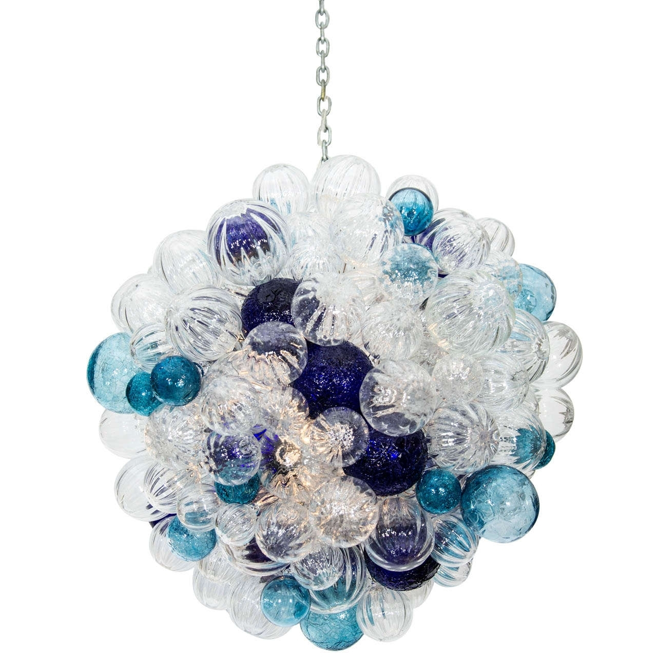 Interior: Attractive Blue White Glass Bubble Chandelier With Chain In Well Known Turquoise Bubble Chandeliers (View 10 of 20)