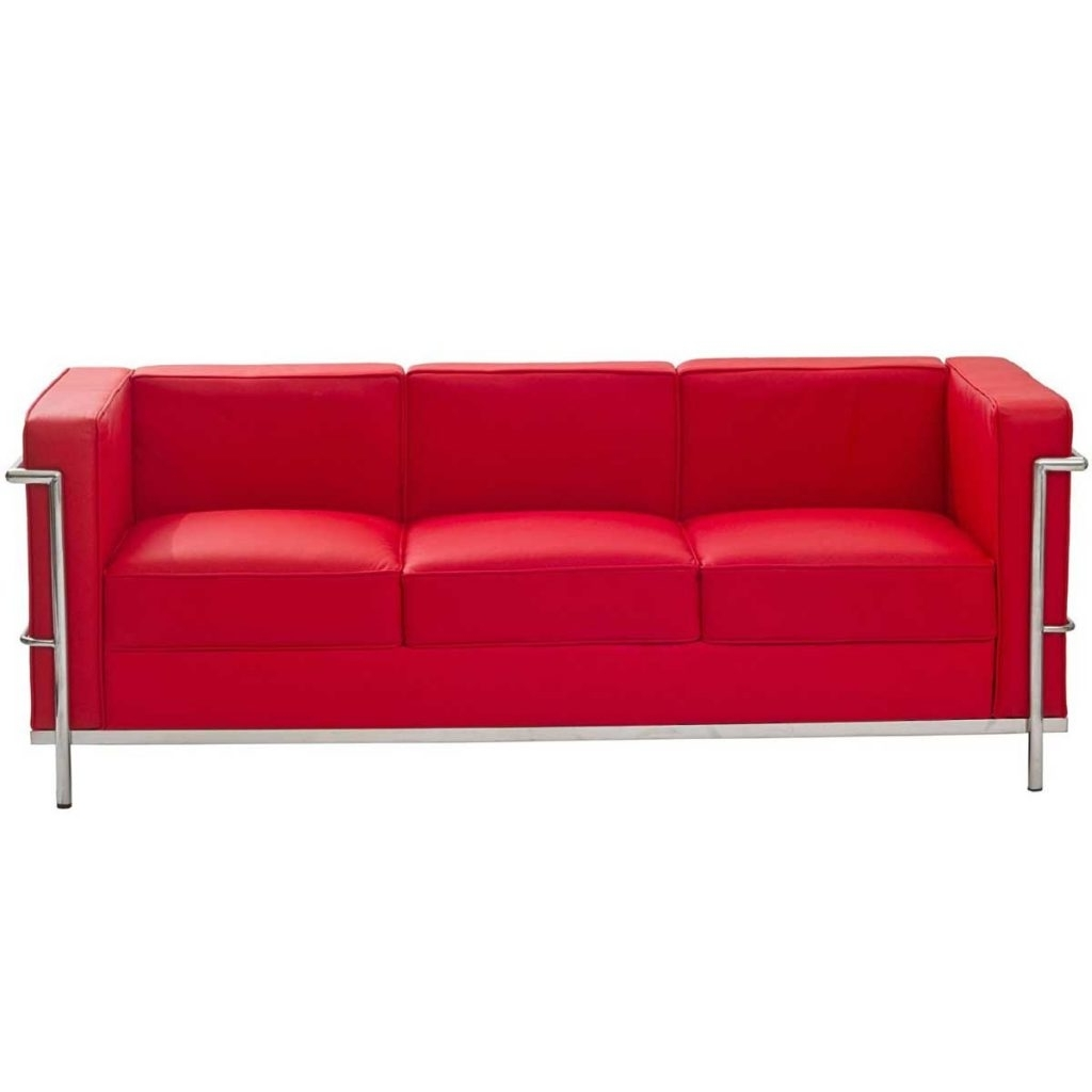 Interior : Contemporary Le Corbusier Style Lc Genuine Red Leather Intended For Trendy Red Leather Couches (View 3 of 20)