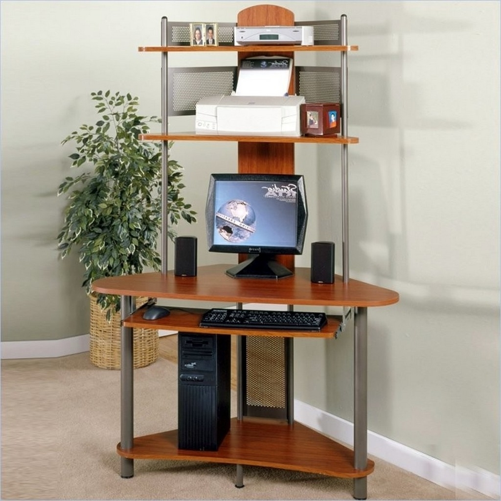 Interior : Narrow Computer Desk With Multiple Shelves And A Slide Inside Fashionable Computer Desks For Small Areas (View 6 of 20)