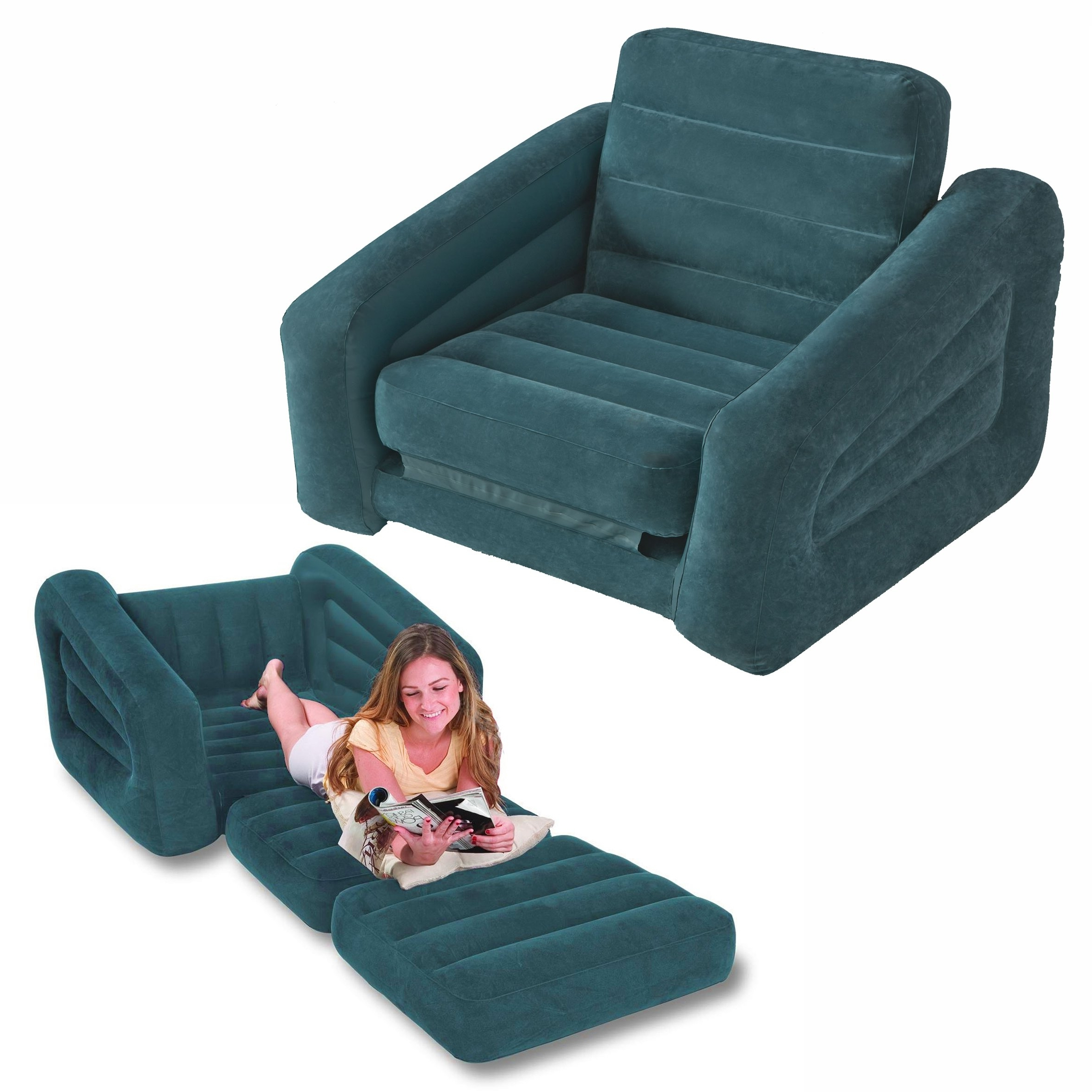 Intex One Person Inflatable Pull Out Chair Bed Sofa 68565 Regarding Most Recently Released