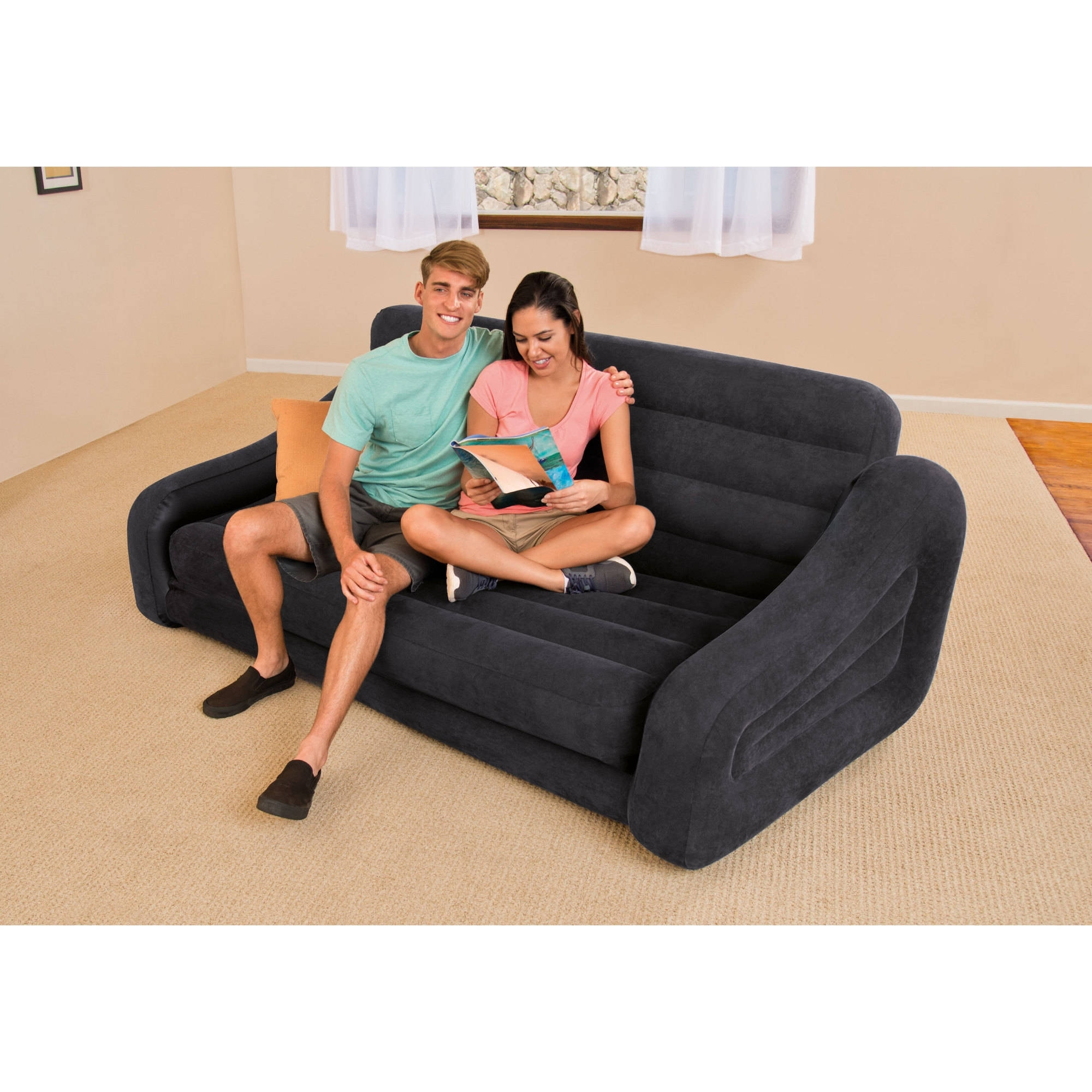 Intex Queen Inflatable Pull Out Sofa Bed – Walmart With Preferred Inflatable Sofas And Chairs (Gallery 11 of 20)