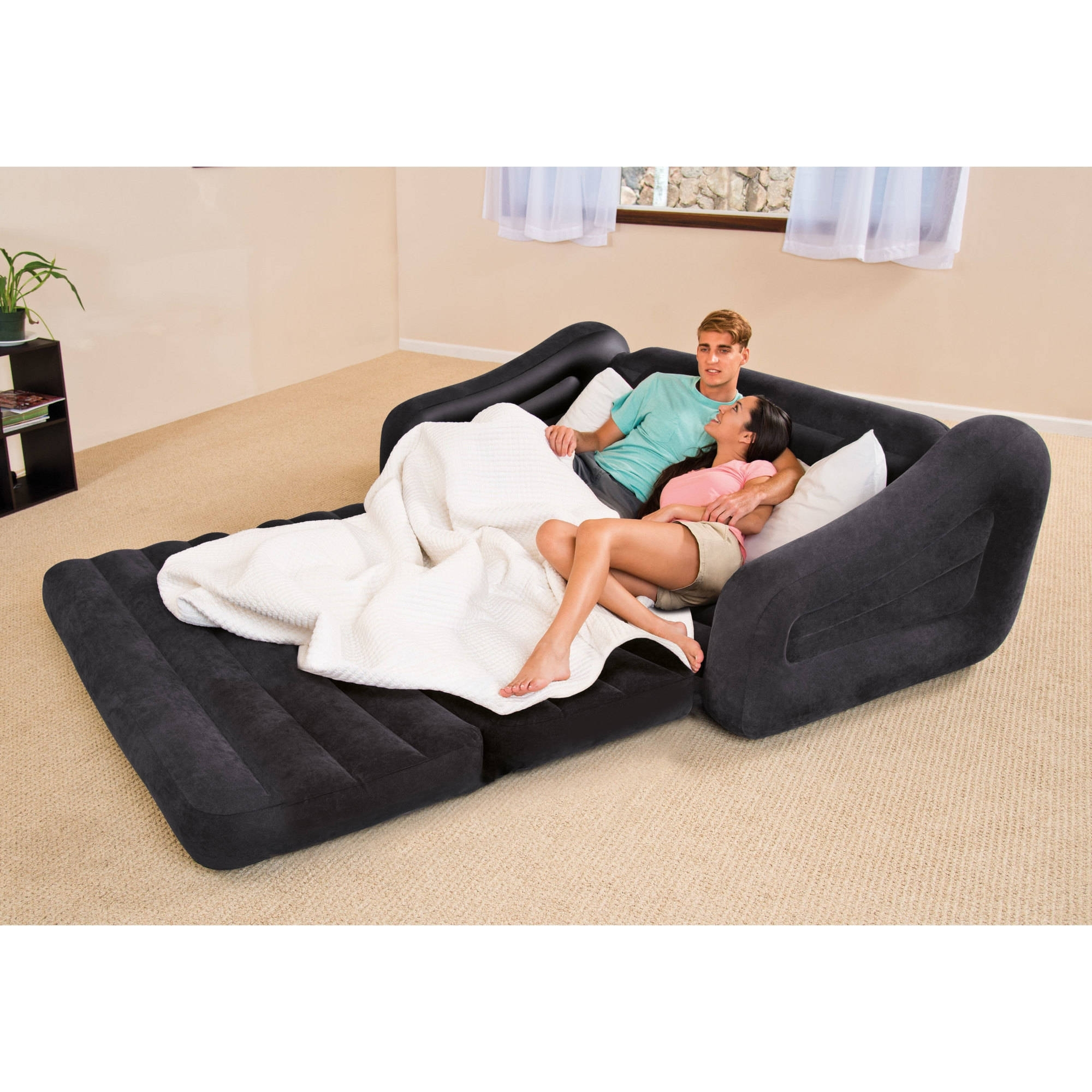Intex Queen Inflatable Pull Out Sofa Bed – Walmart With Regard To Well Known Queen Size Sofas (View 20 of 20)